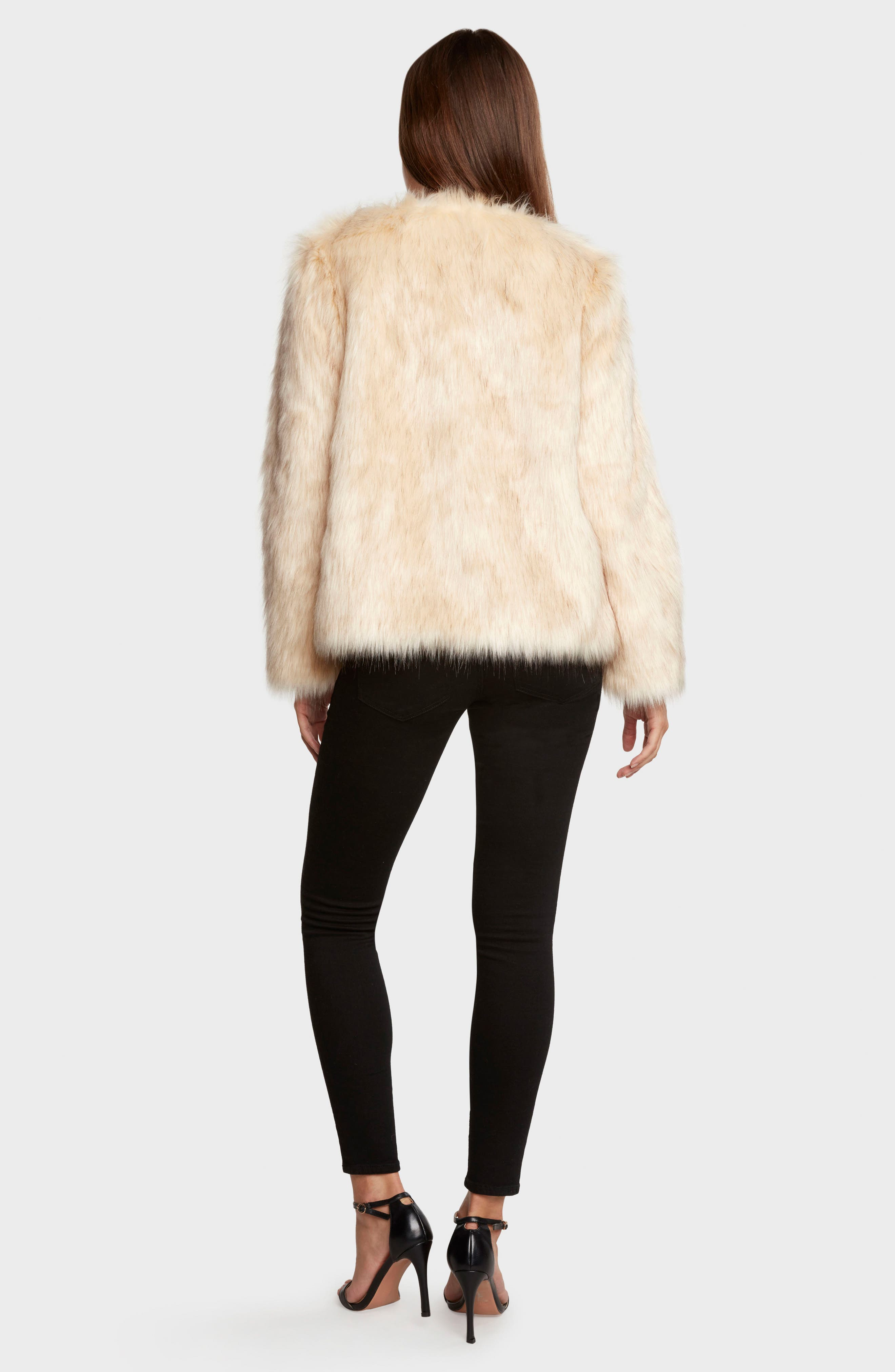 Faux Fur Jacket,                             Alternate thumbnail 2, color,                             Natural