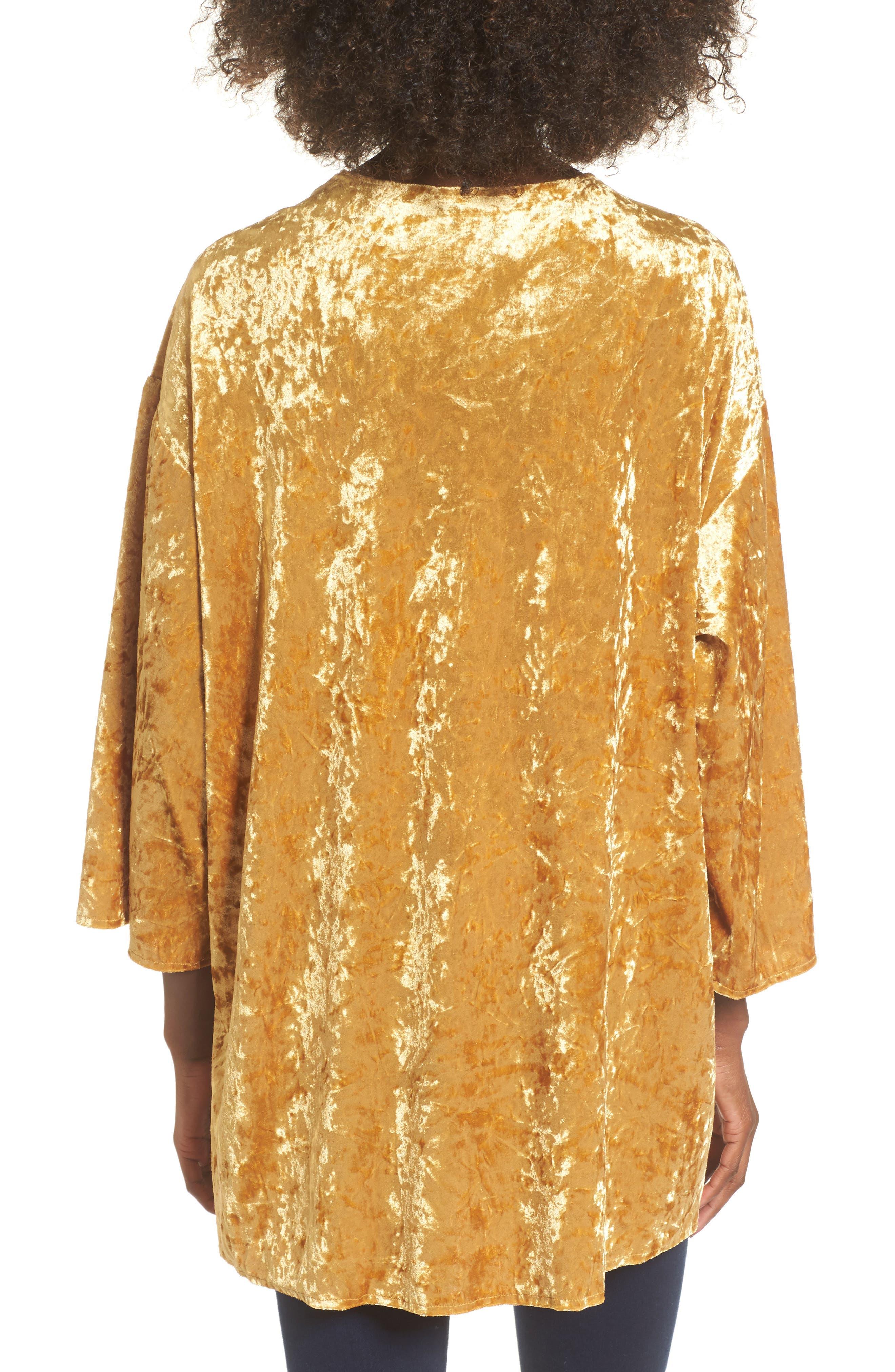 Crushed Velvet Open Cardigan,                             Alternate thumbnail 2, color,                             Golden Yellow