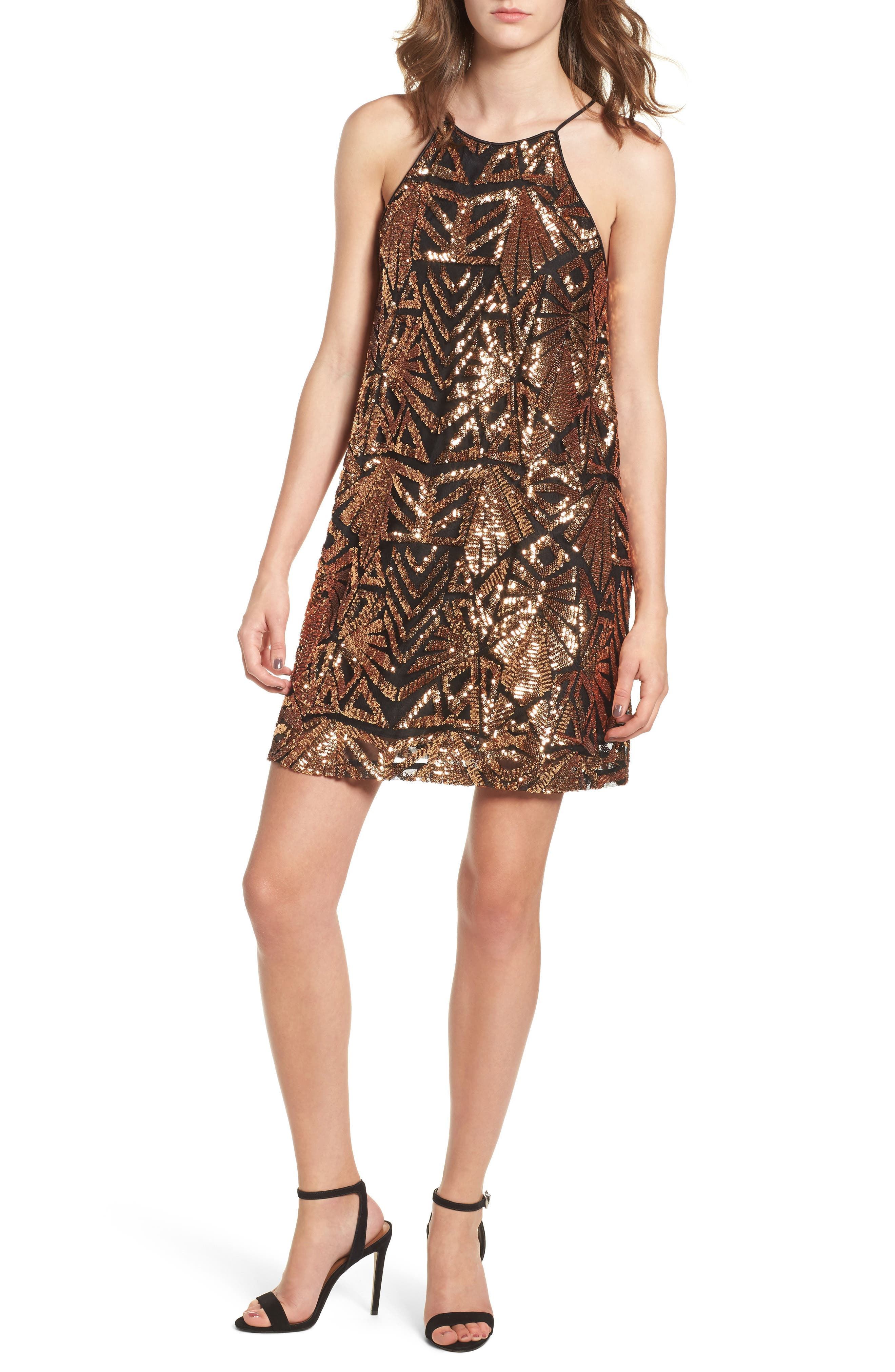 Sequined High Neck Dress,                         Main,                         color, Gold