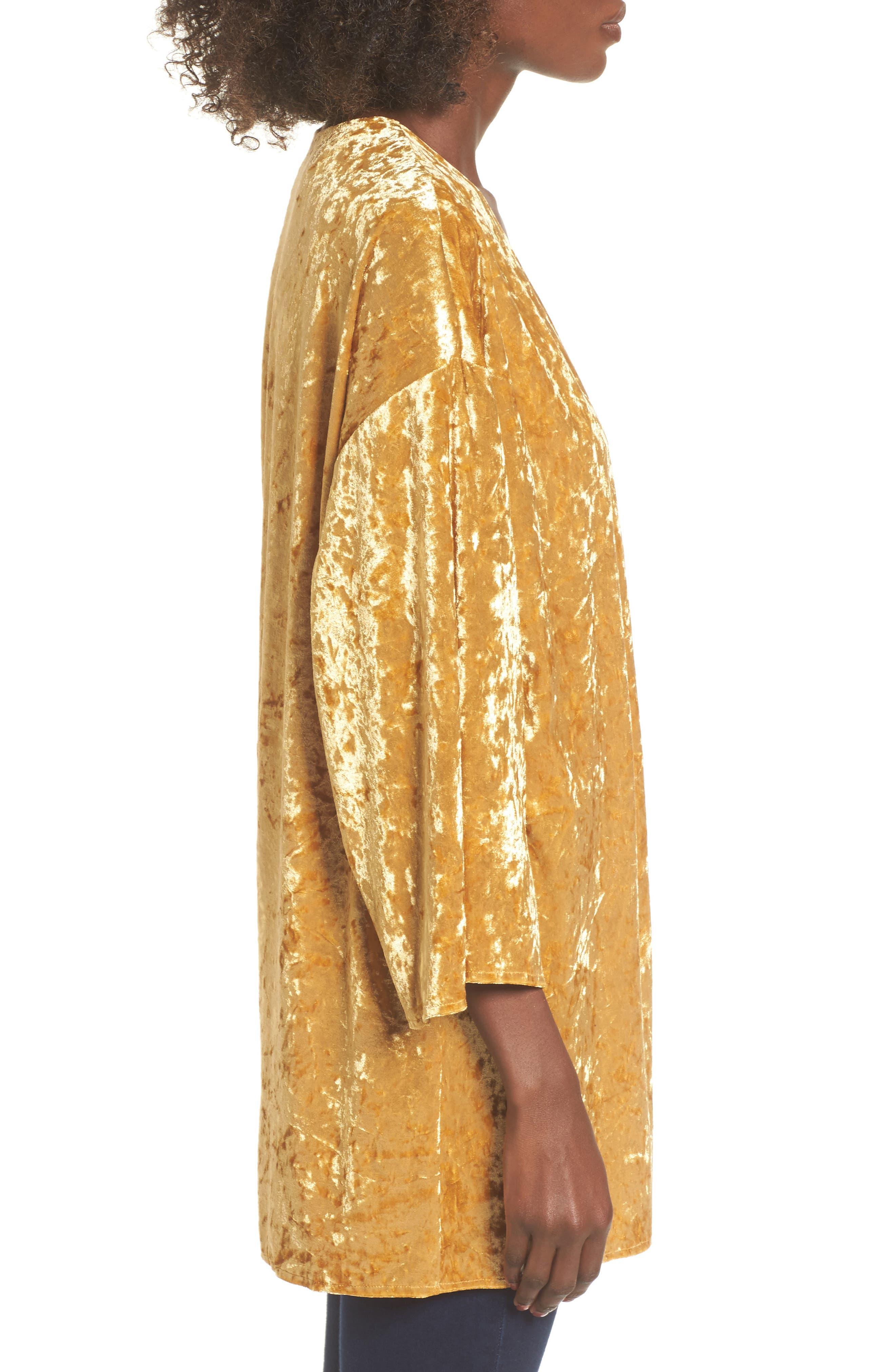 Crushed Velvet Open Cardigan,                             Alternate thumbnail 3, color,                             Golden Yellow