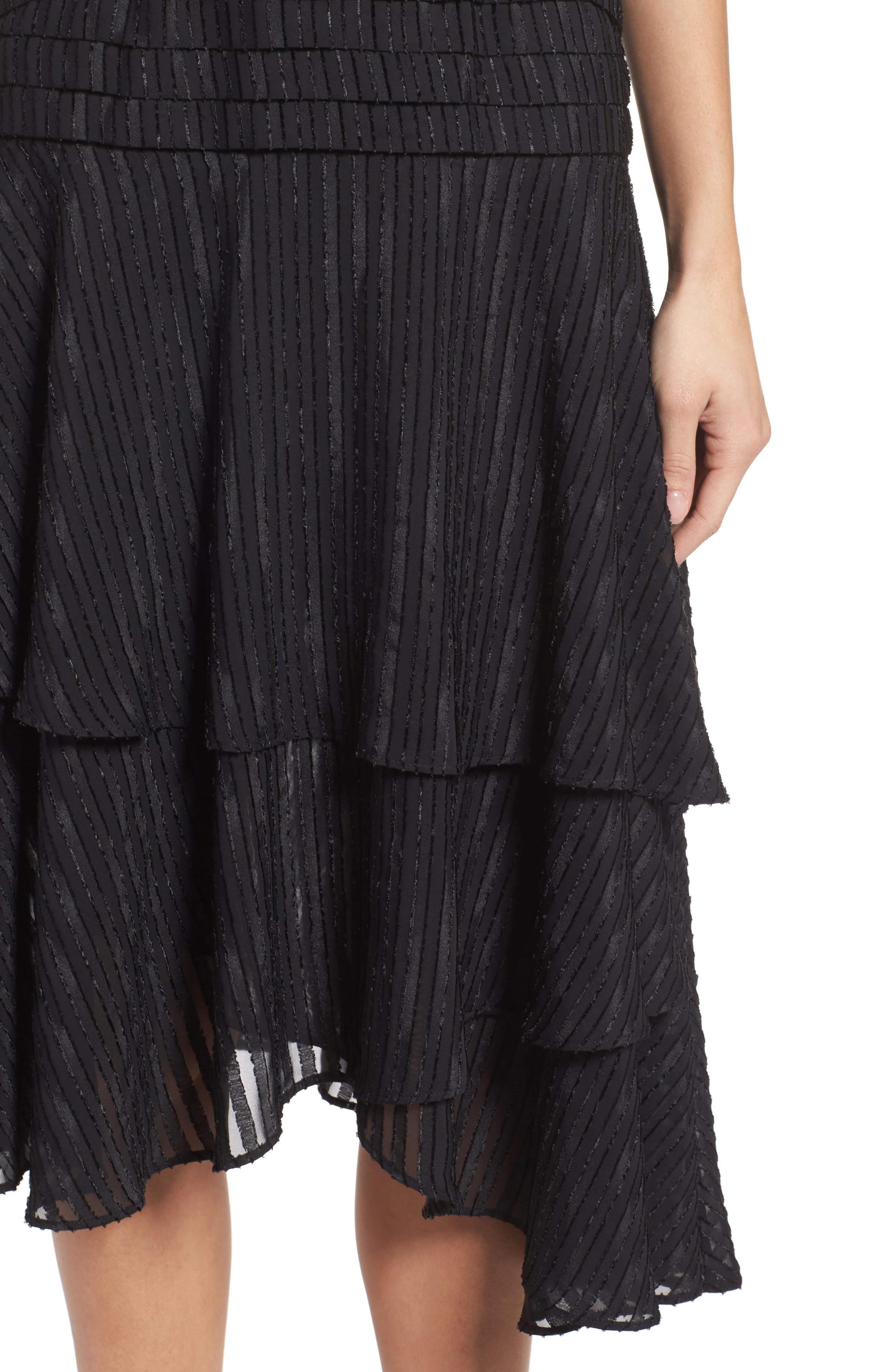 Waterfall Burnout Stripe Dress,                             Alternate thumbnail 5, color,                             Black