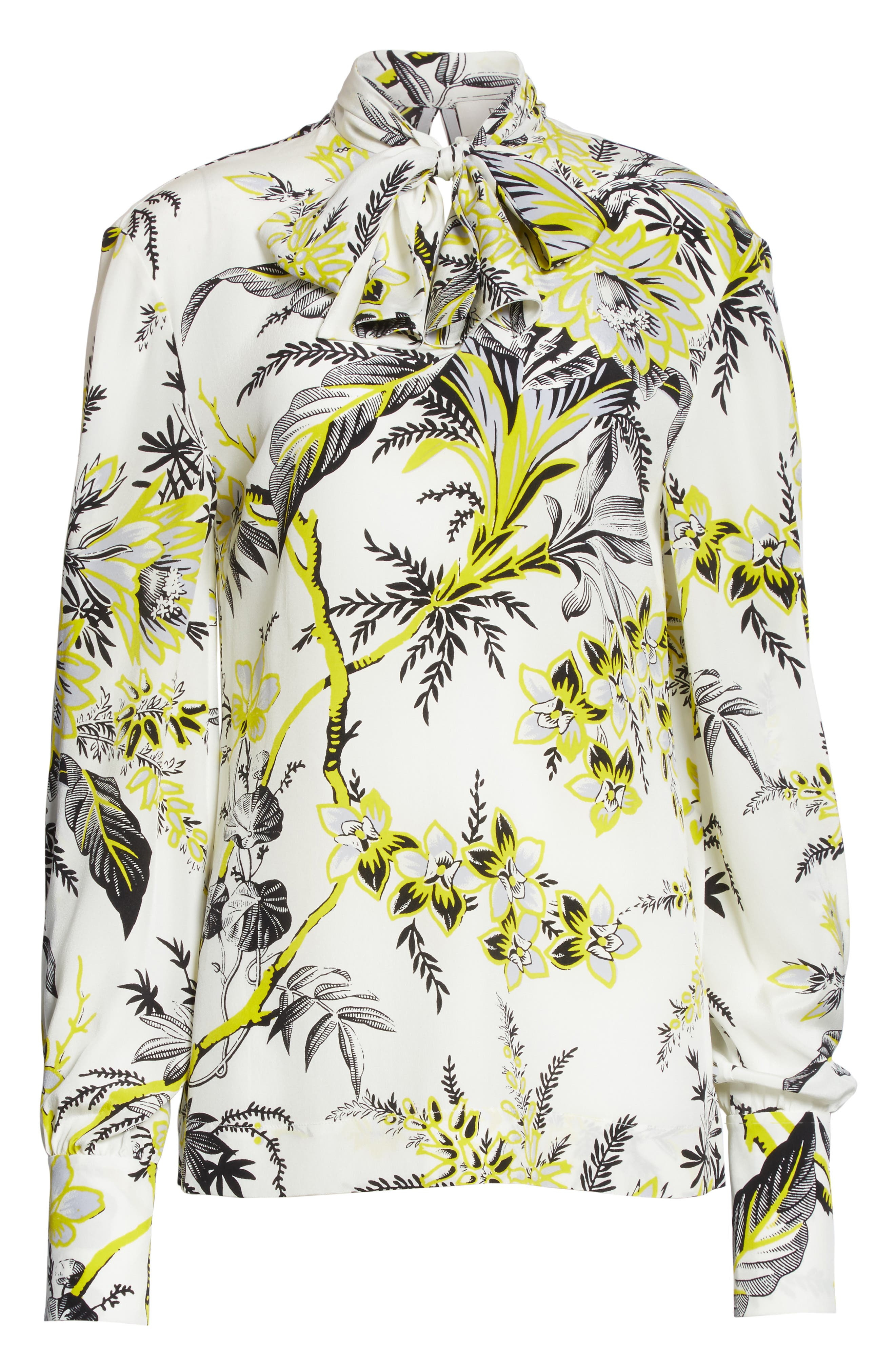 Diane von Furstenberg Tie Neck Silk Blouse,                             Alternate thumbnail 6, color,                             Avalon Ivory