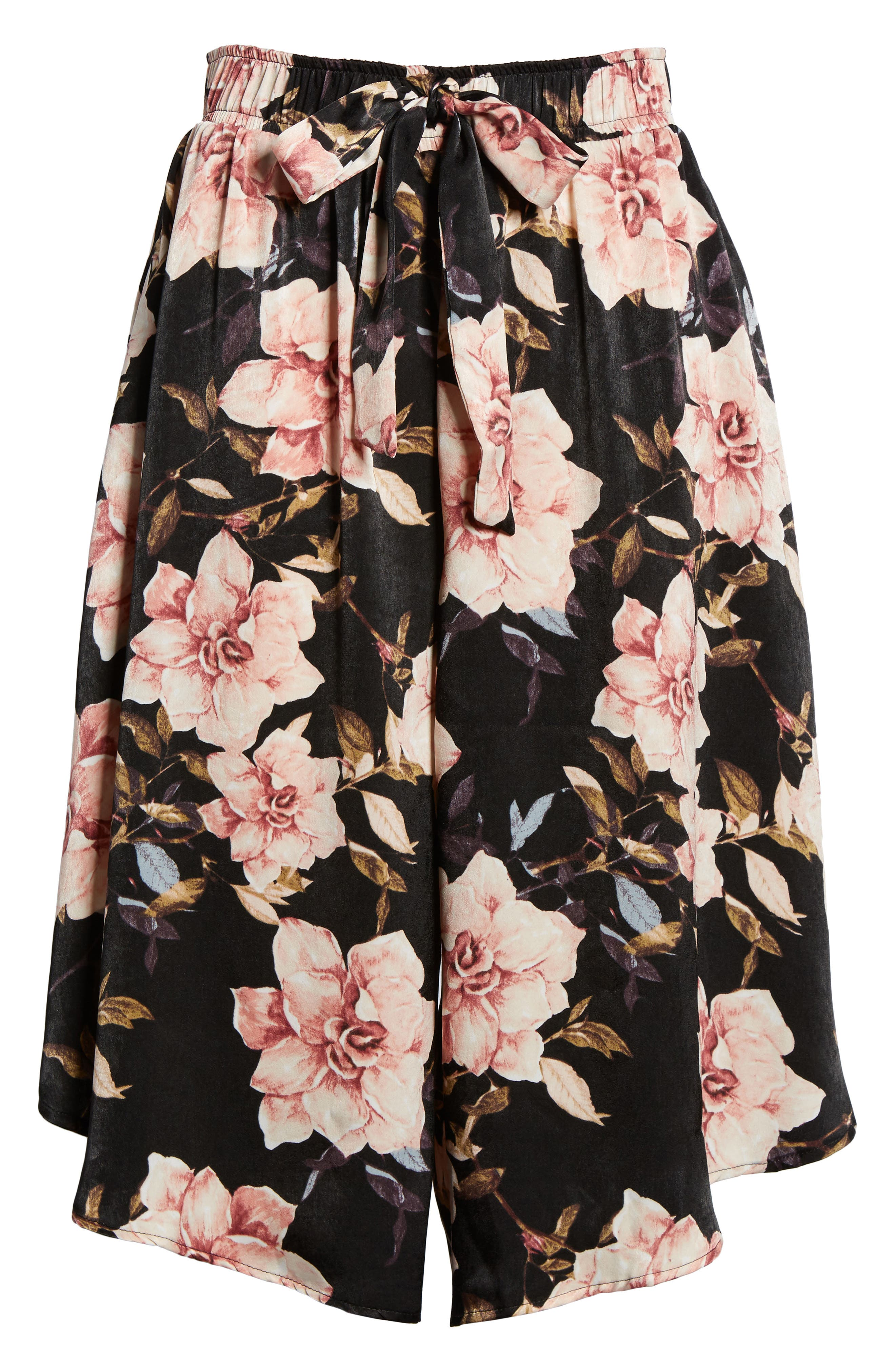 Floral Culottes,                             Alternate thumbnail 7, color,                             Black Garden Rose Floral