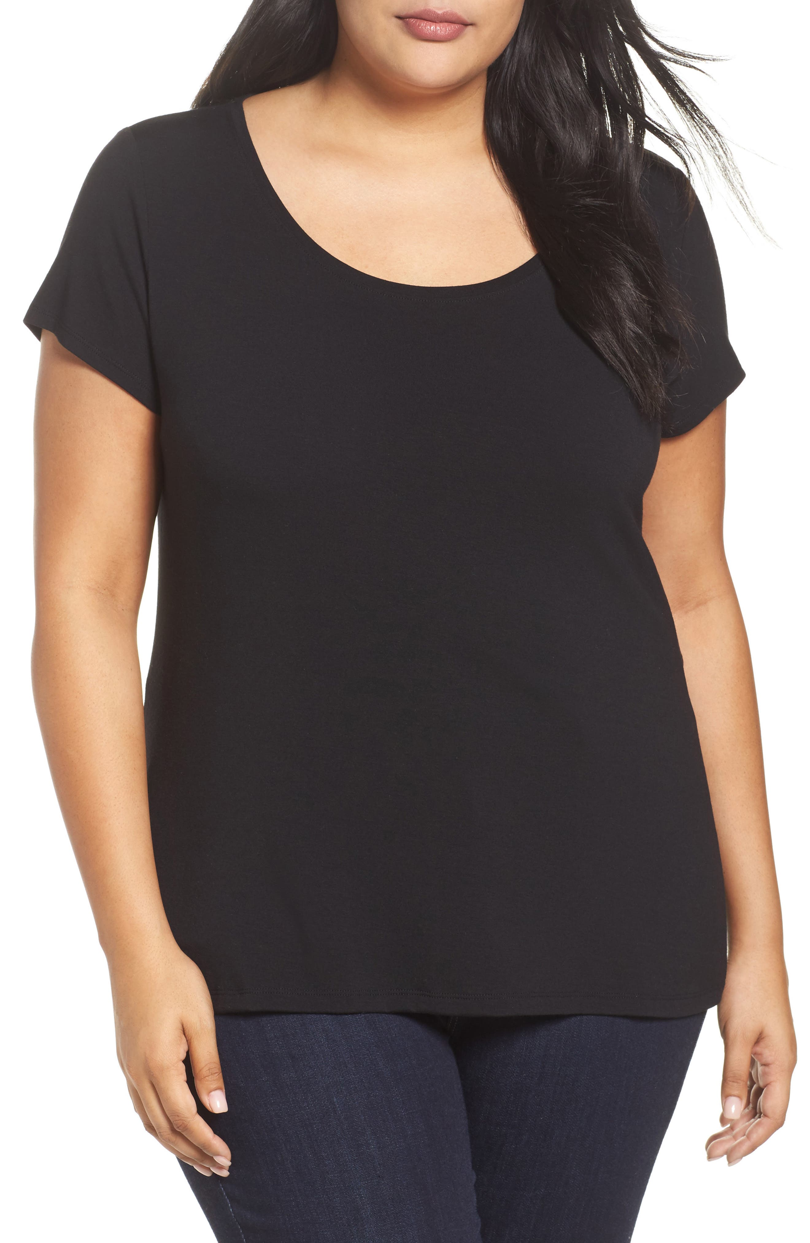 Stretch Scoop Neck Tee,                             Main thumbnail 1, color,                             Black