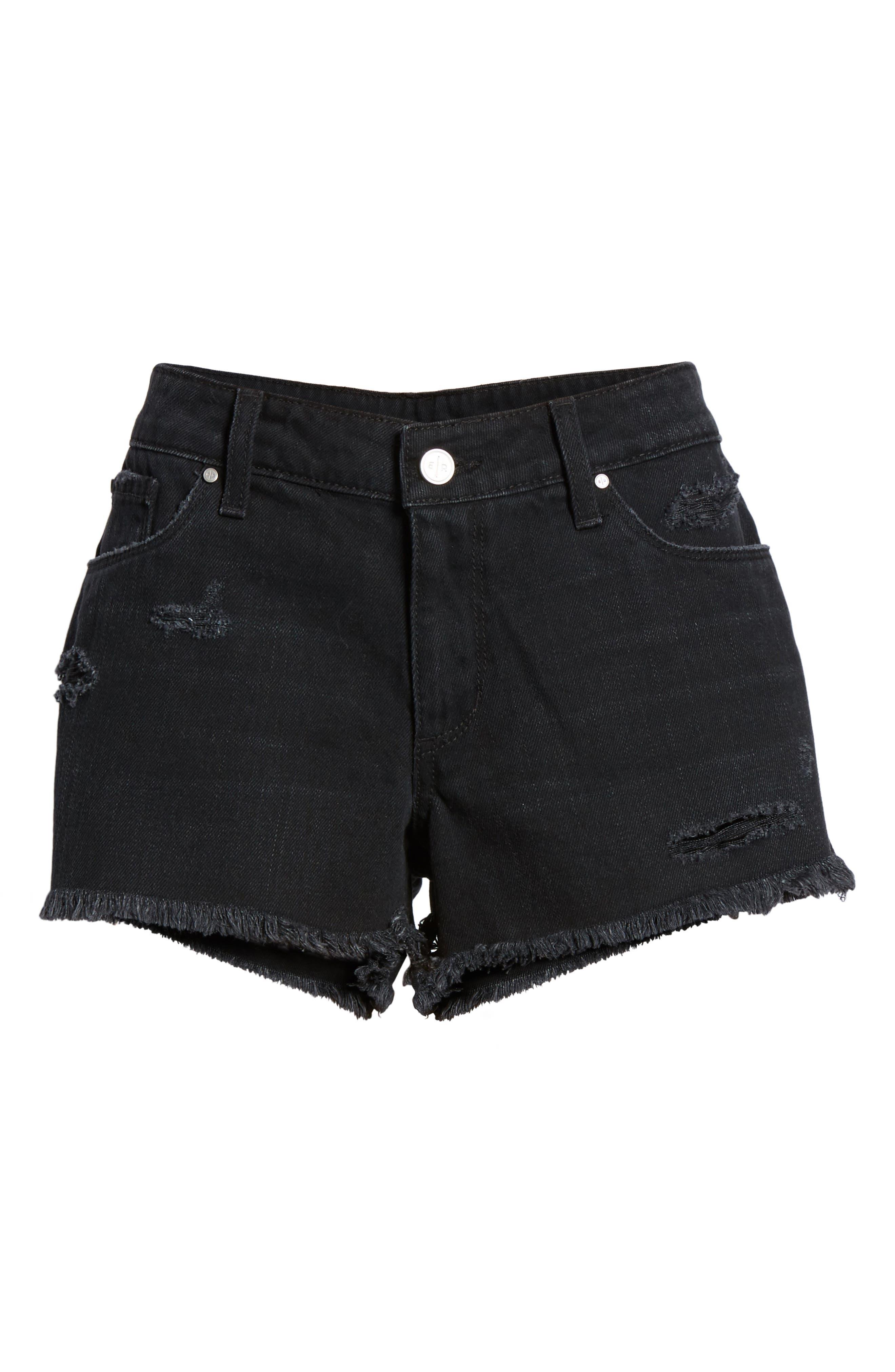 Fray Hem Denim Shorts,                             Alternate thumbnail 7, color,                             Black