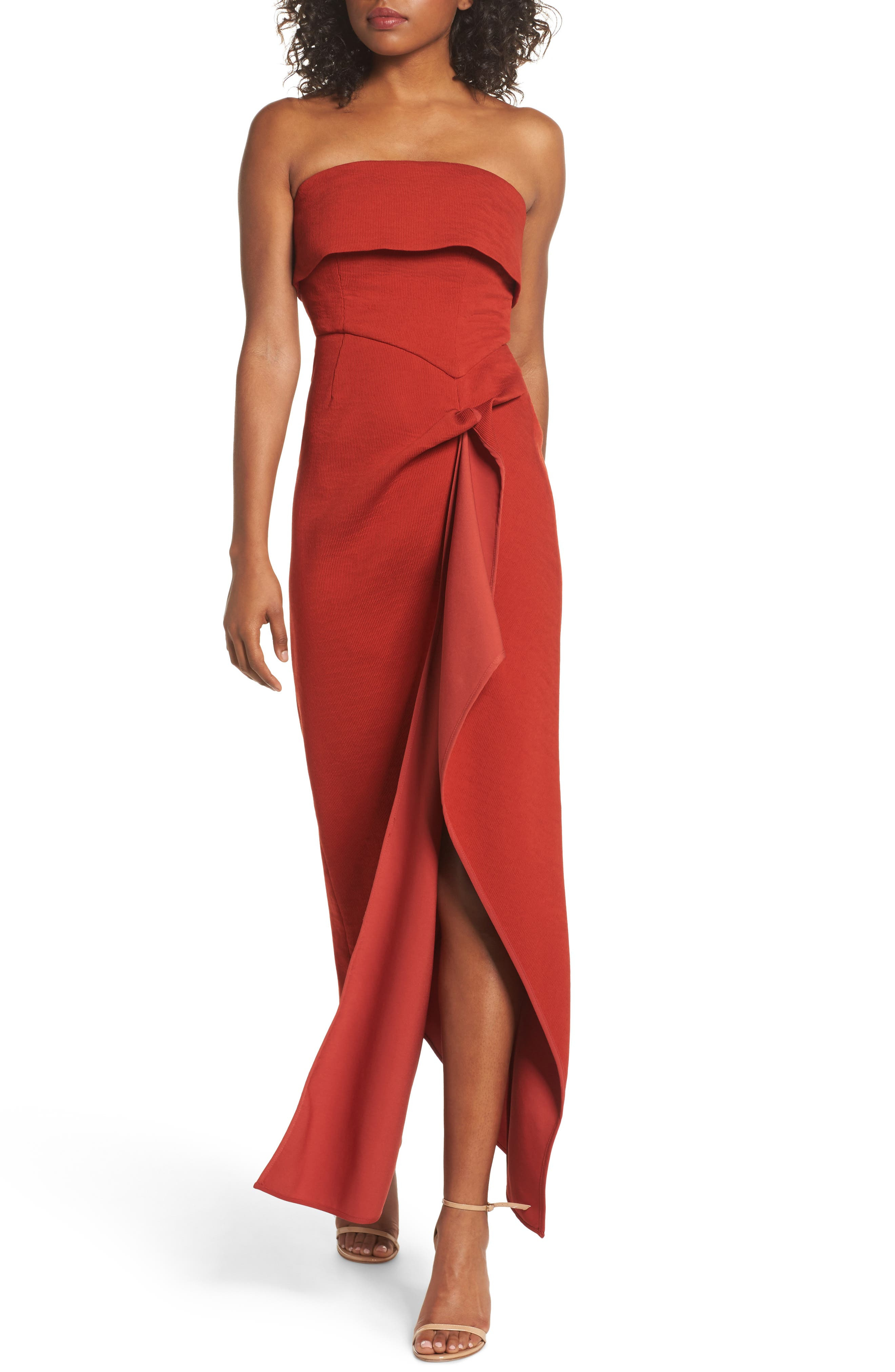 Fluidity Strapless Maxi Dress,                             Main thumbnail 1, color,                             Red