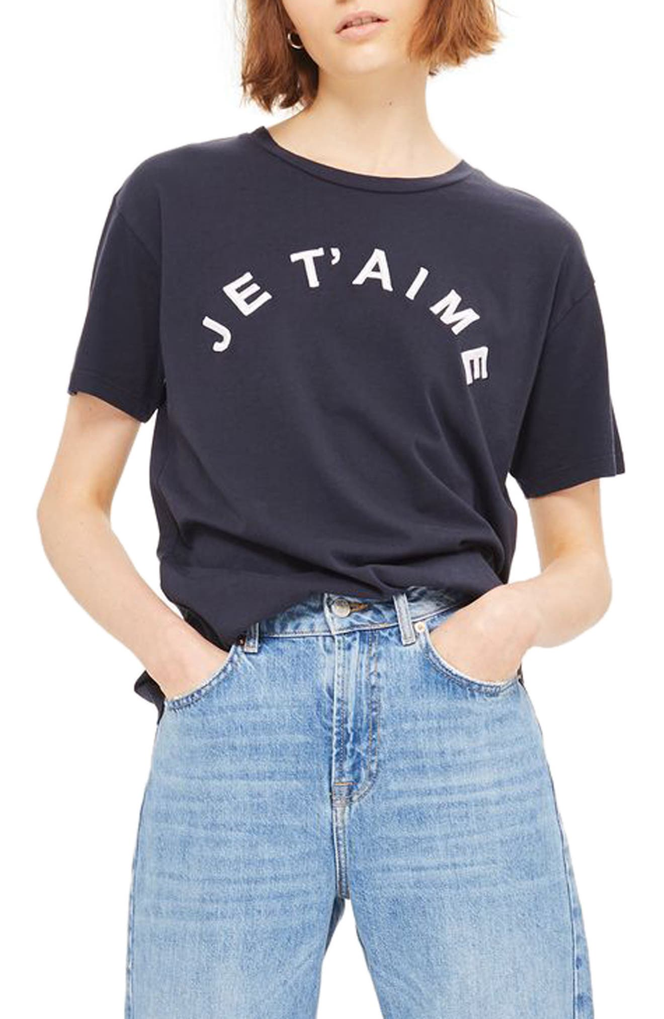 Topshop Je T'aime Embroidered Tee
