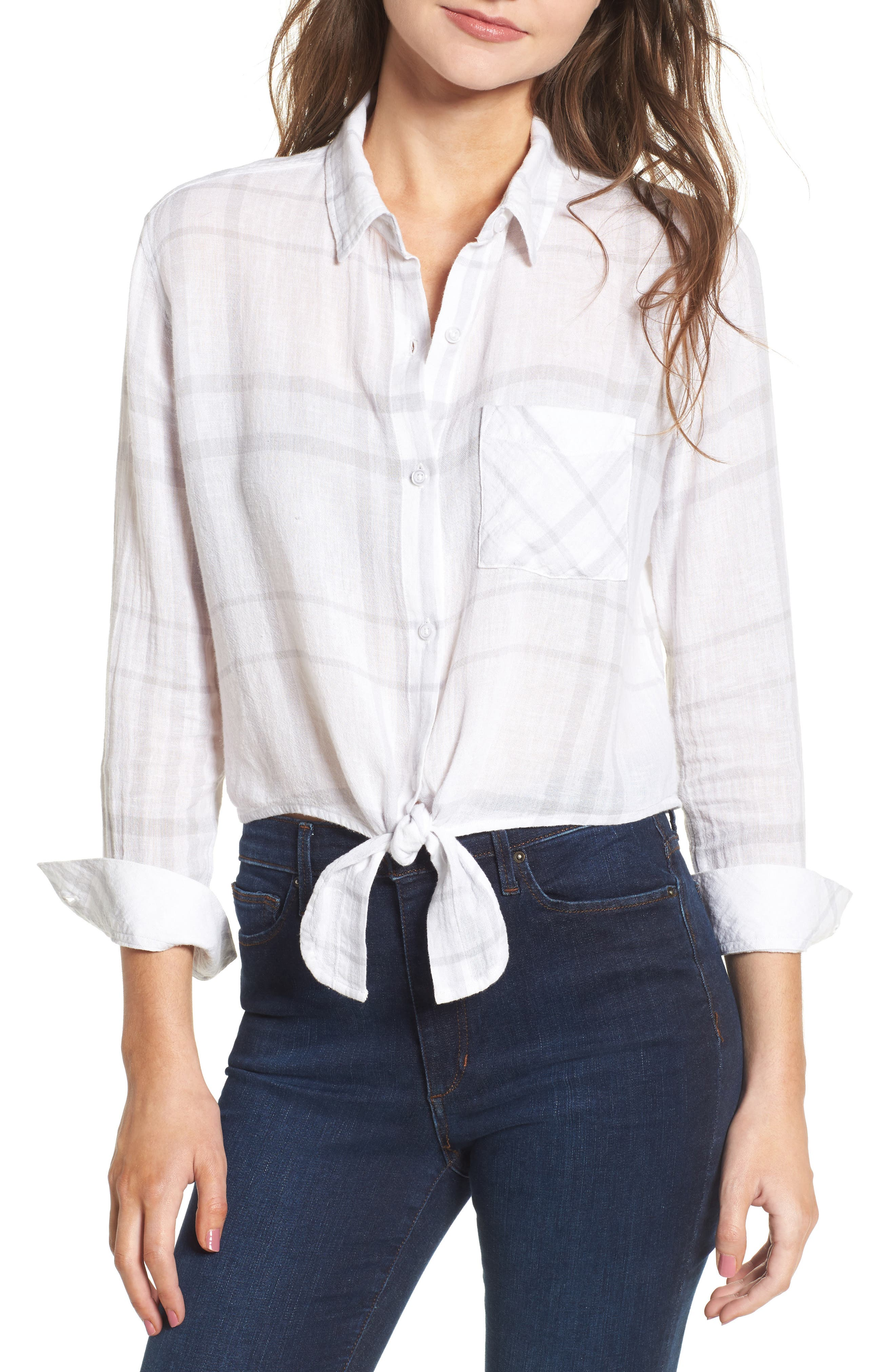 Val Tie Front Top,                         Main,                         color, White Coin Plaid