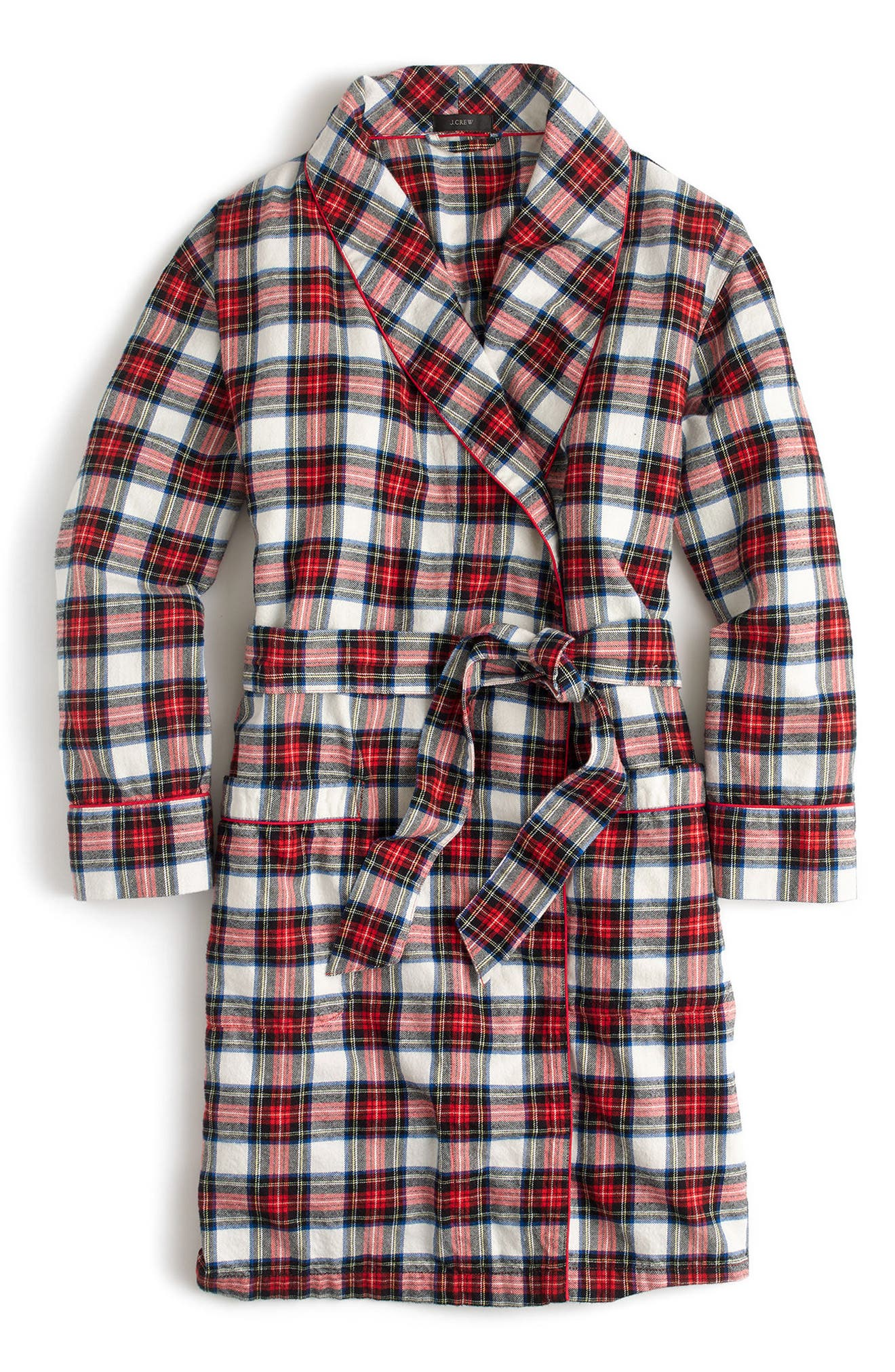 J.Crew Whiteout Plaid Flannel Short Robe,                             Alternate thumbnail 4, color,                             Red Navy