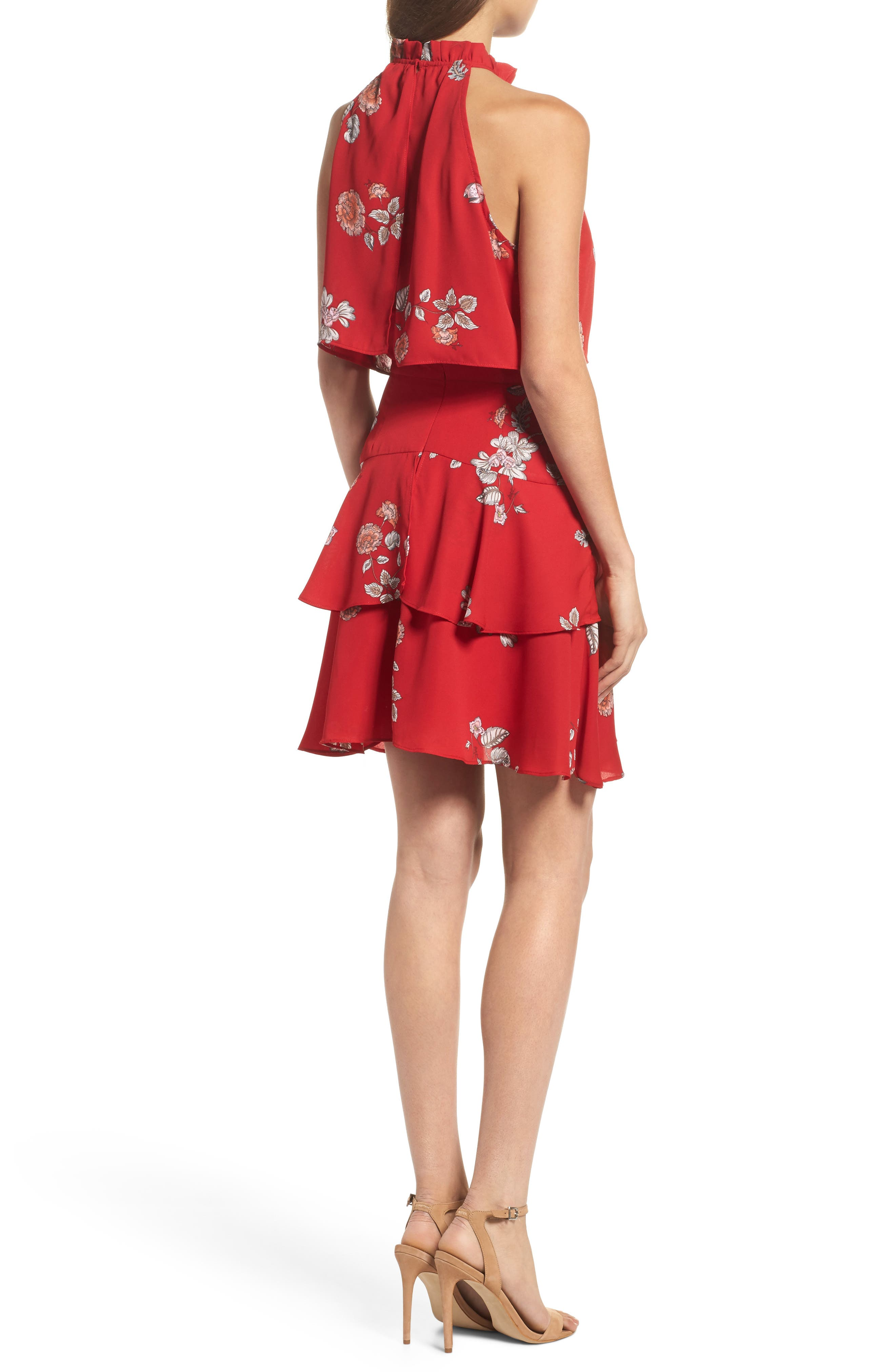 Cadence Ruffle Halter Dress,                             Alternate thumbnail 2, color,                             Red