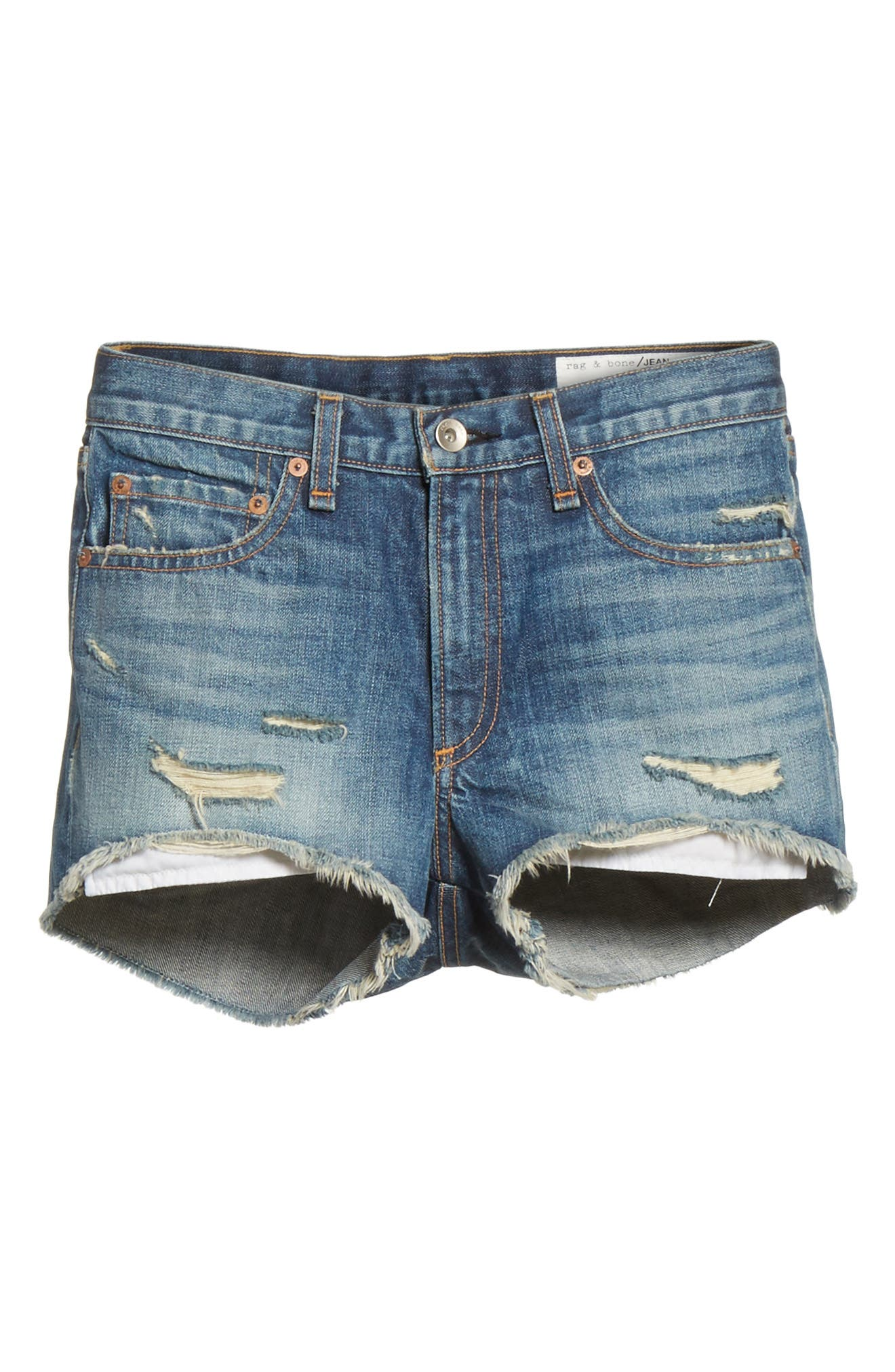 Margaux High Waist Denim Shorts,                             Alternate thumbnail 6, color,                             Rocka Rolla
