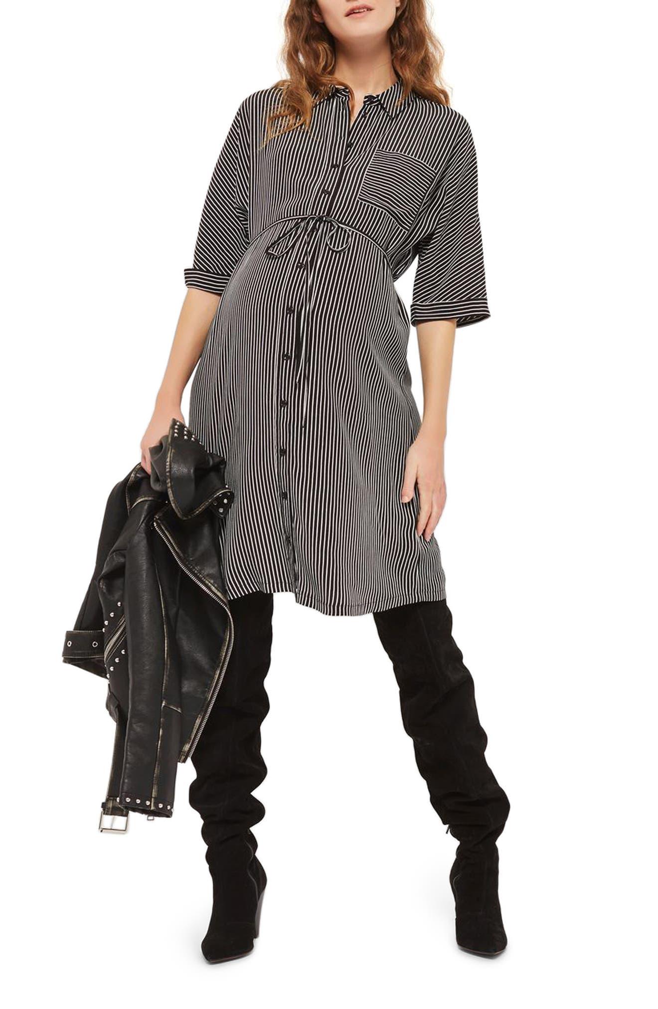 Main Image - Topshop Kady Stripe Maternity Shirtdress