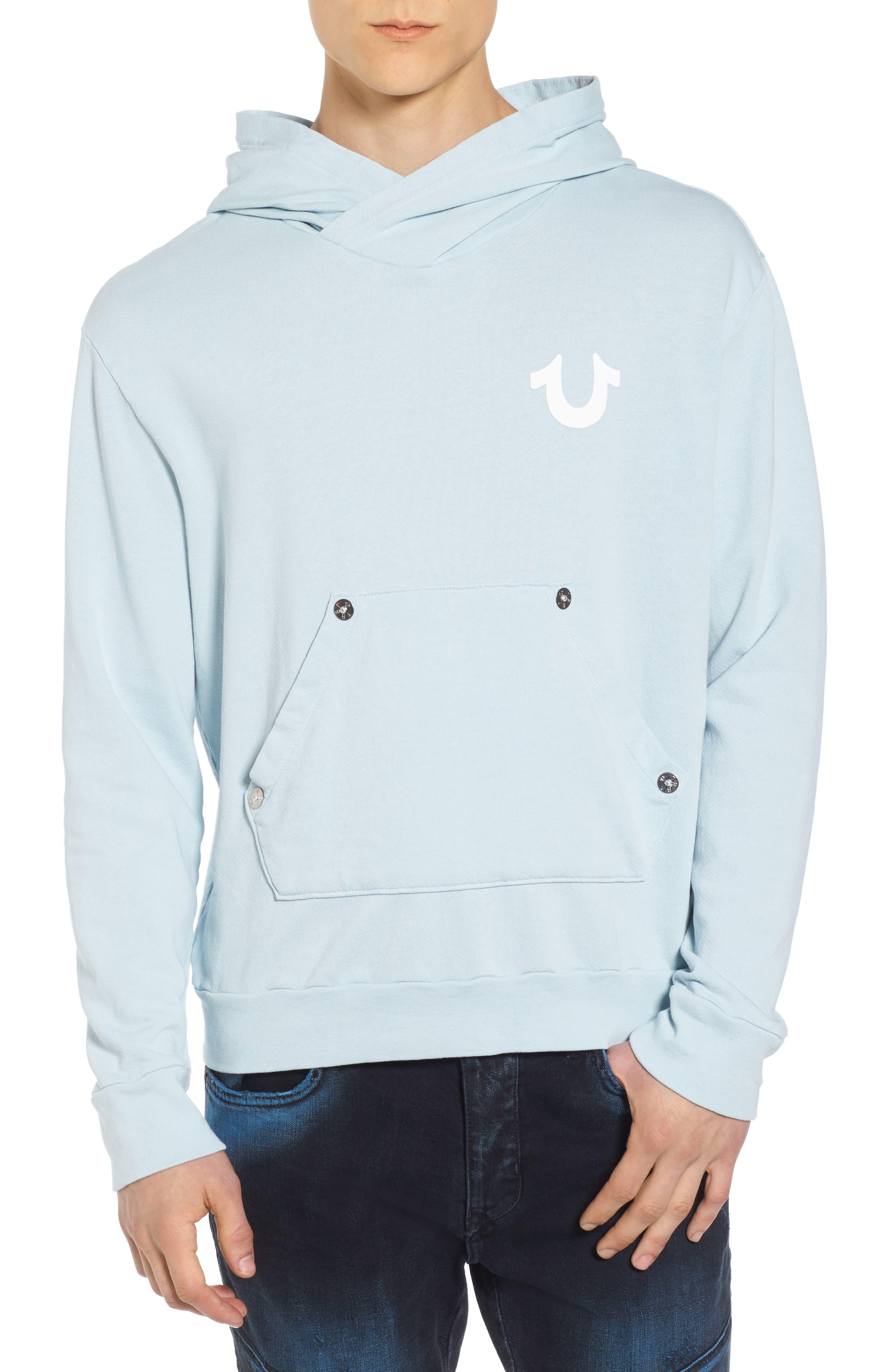 Core Hoodie,                         Main,                         color, Pale Blue W/ White