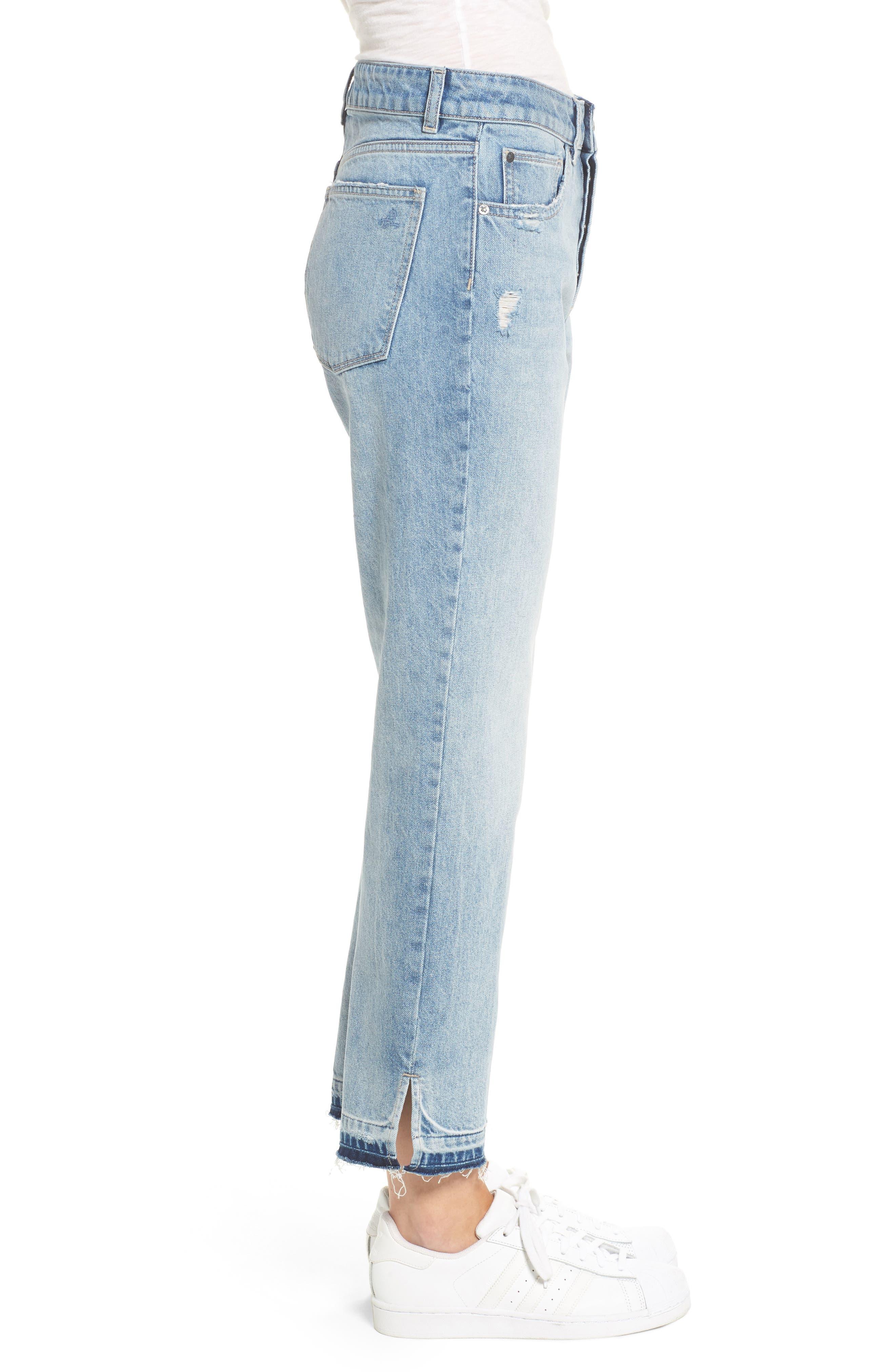 Patti Crop Straight Leg Jeans,                             Alternate thumbnail 3, color,                             Deluxe