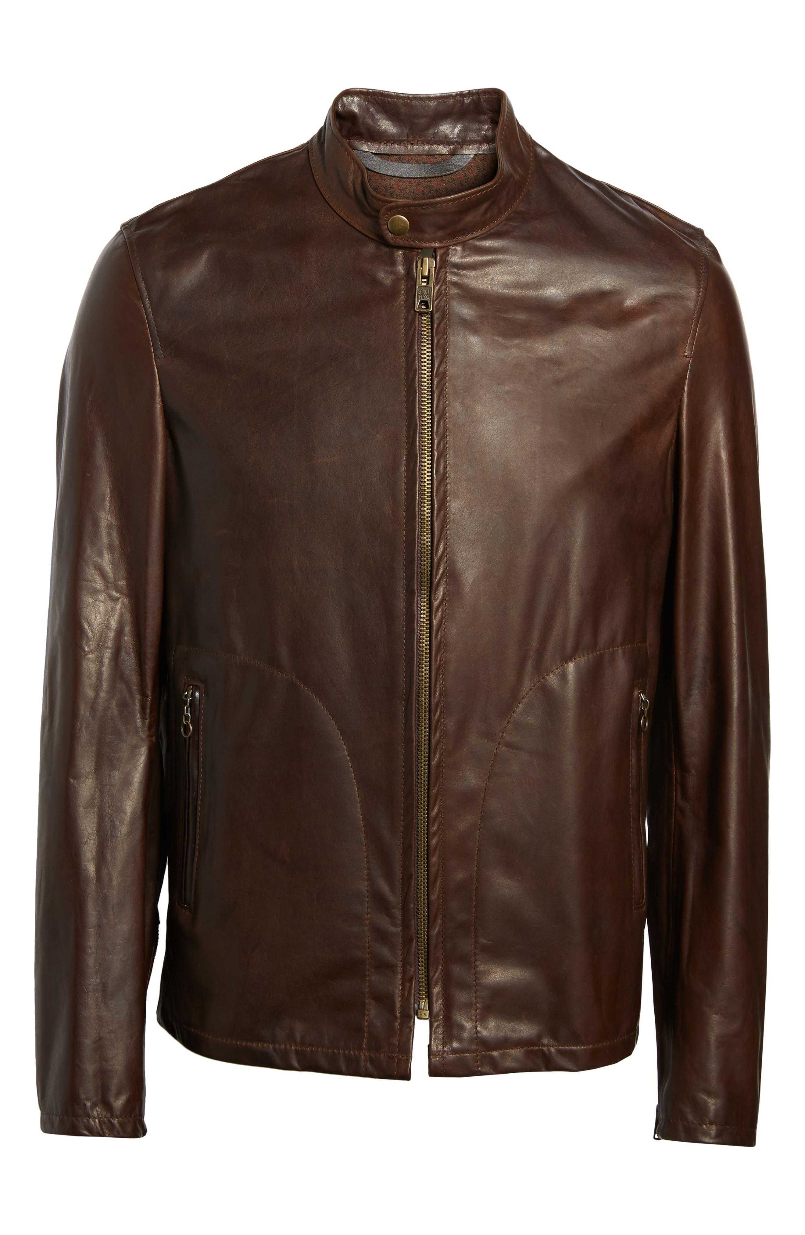 Café Racer Unlined Cowhide Leather Jacket,                             Alternate thumbnail 6, color,                             Brown