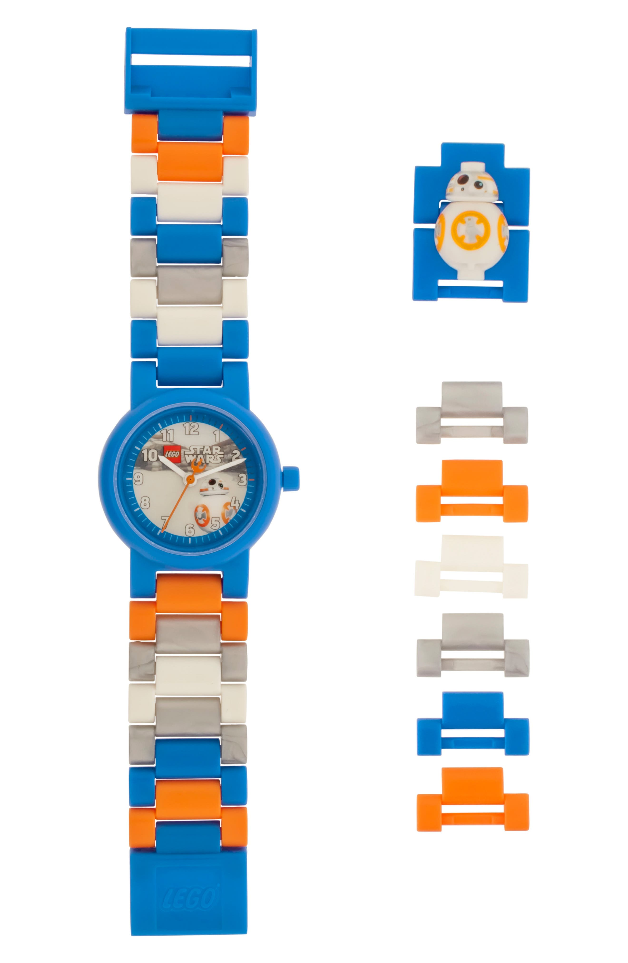 23-Piece Star Wars BB-8<sup>™</sup> Buildable Water-Resistant Watch,                         Main,                         color, Blue