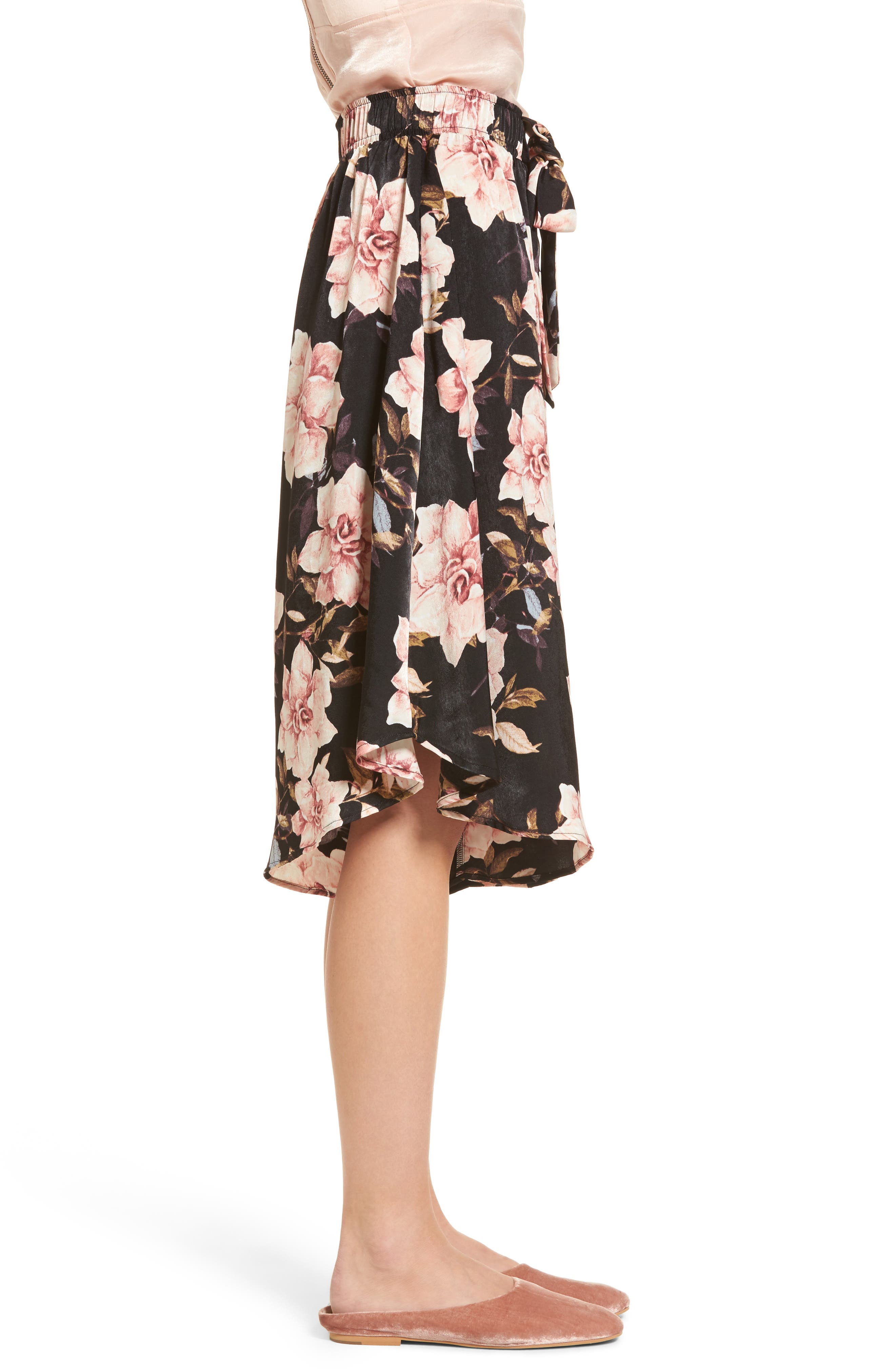 Floral Culottes,                             Alternate thumbnail 3, color,                             Black Garden Rose Floral