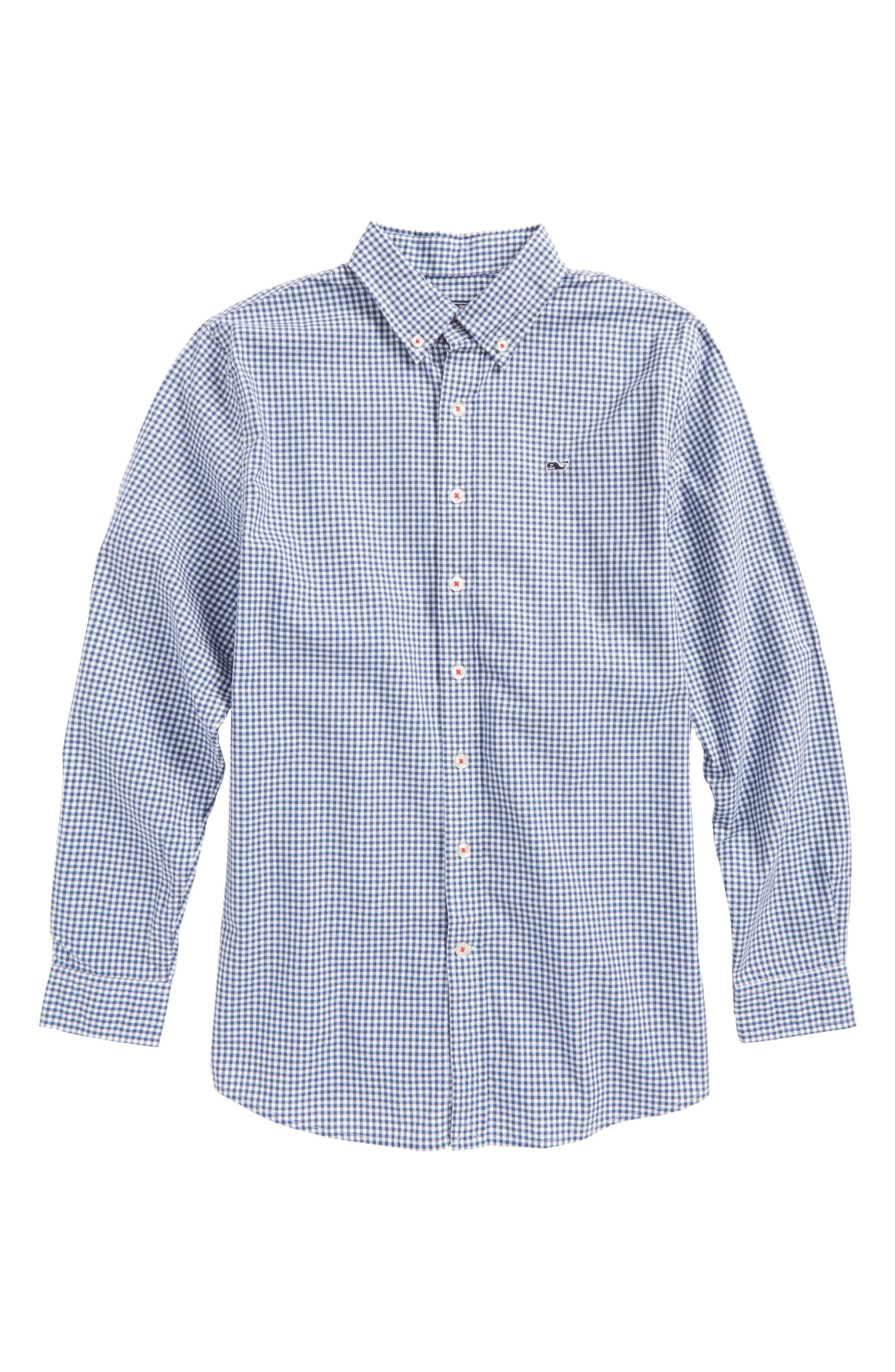vineyard vines Old Town Gingham Whale Shirt (Big Boys)