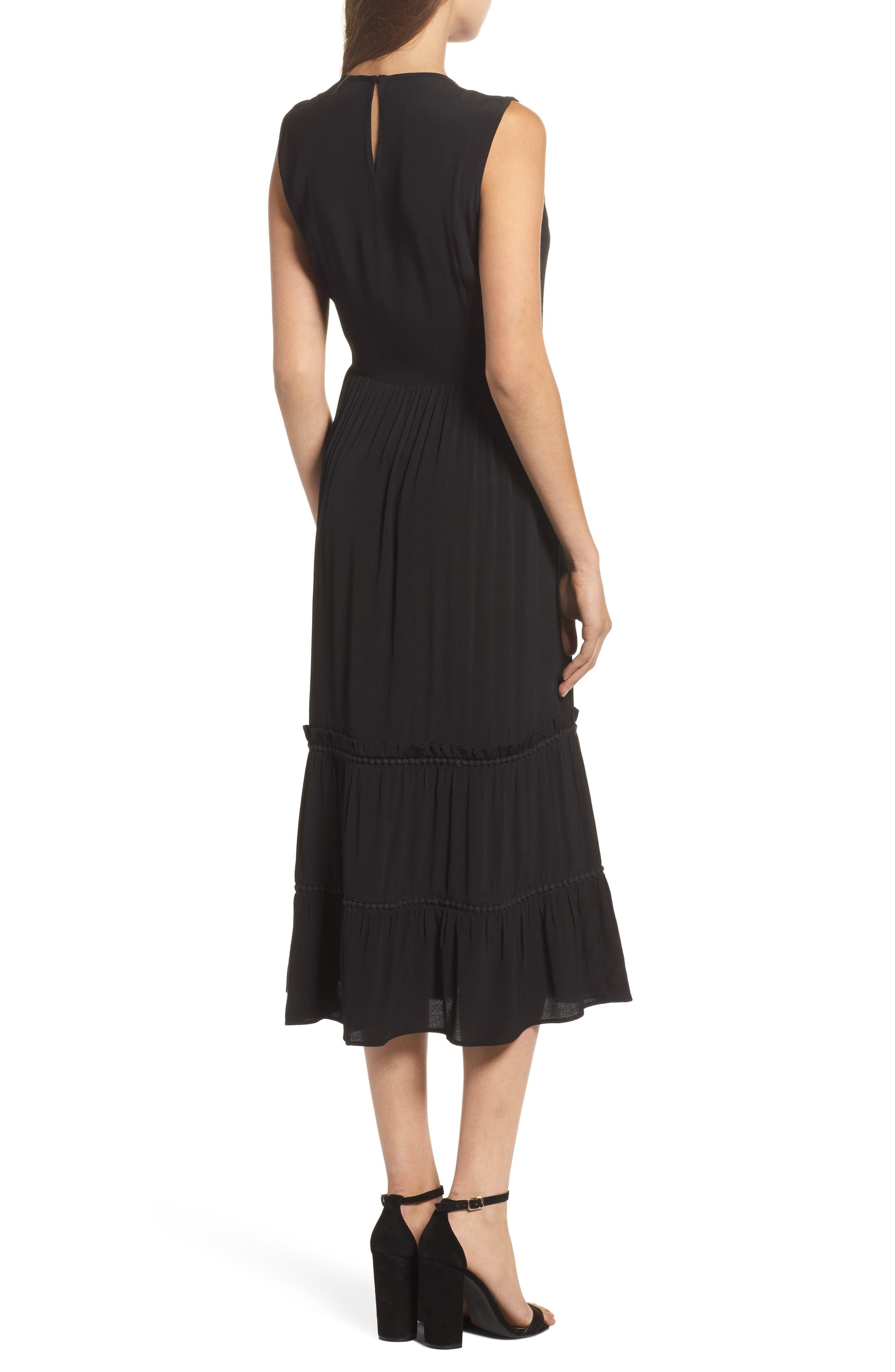 Luna Midi Dress,                             Alternate thumbnail 2, color,                             Black