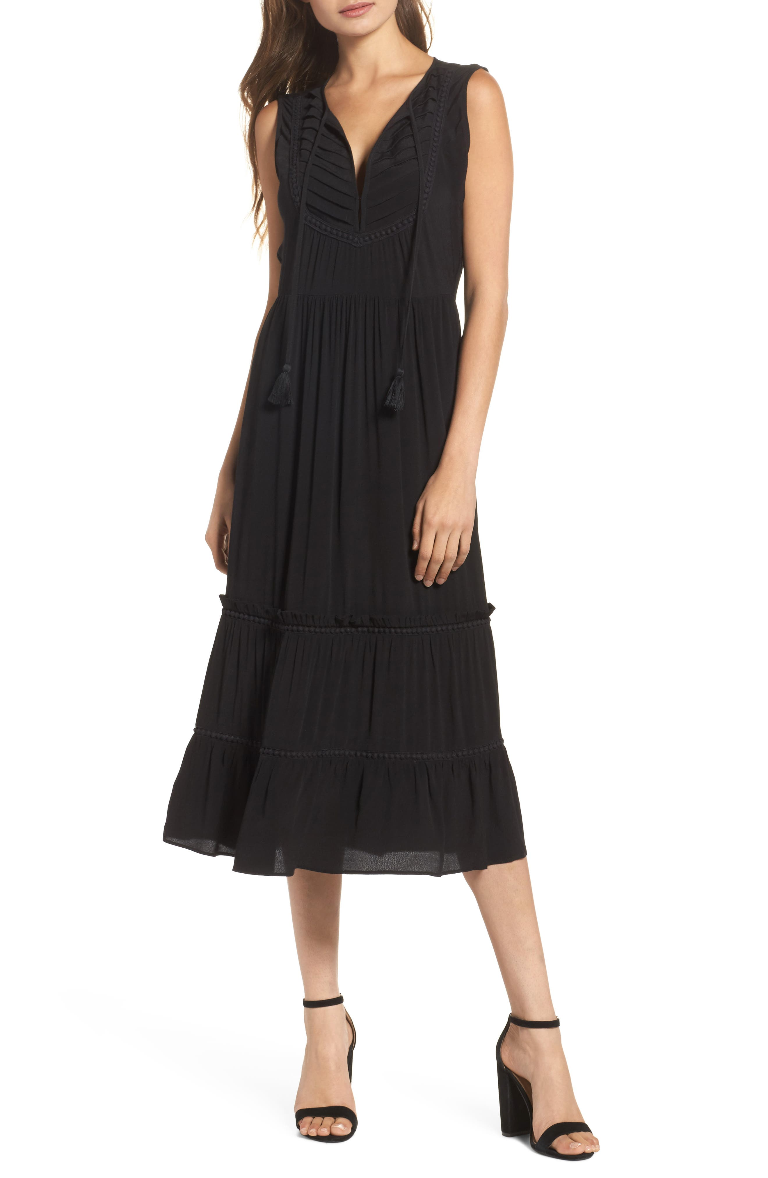 Luna Midi Dress,                         Main,                         color, Black