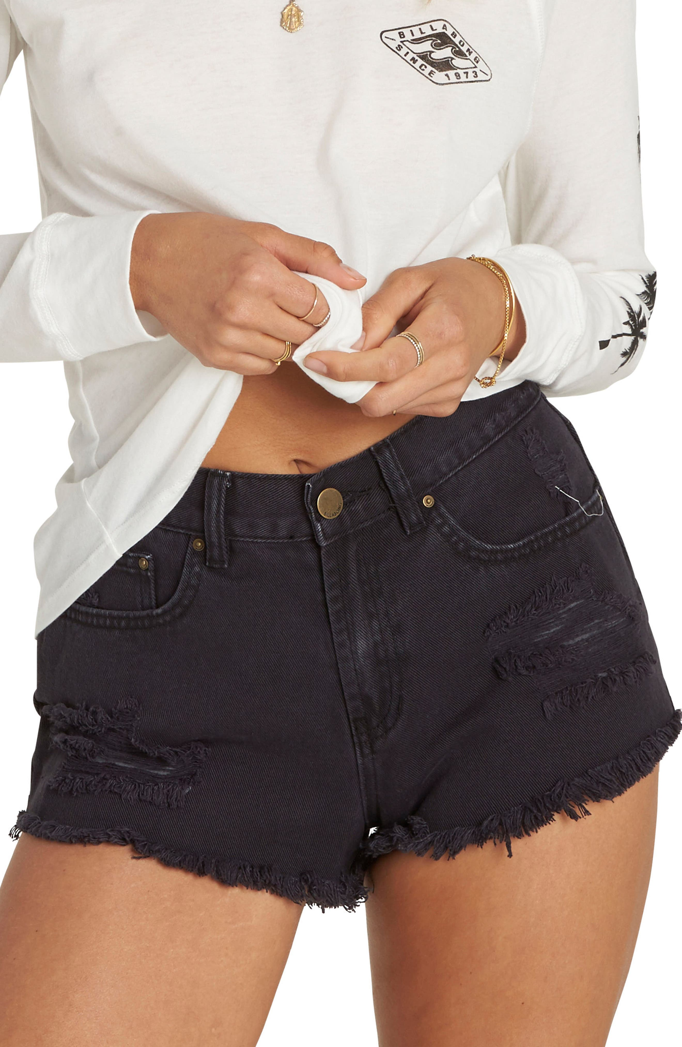 Billabong Drift Away Distressed Denim Cutoff Shorts (Black Pebble)