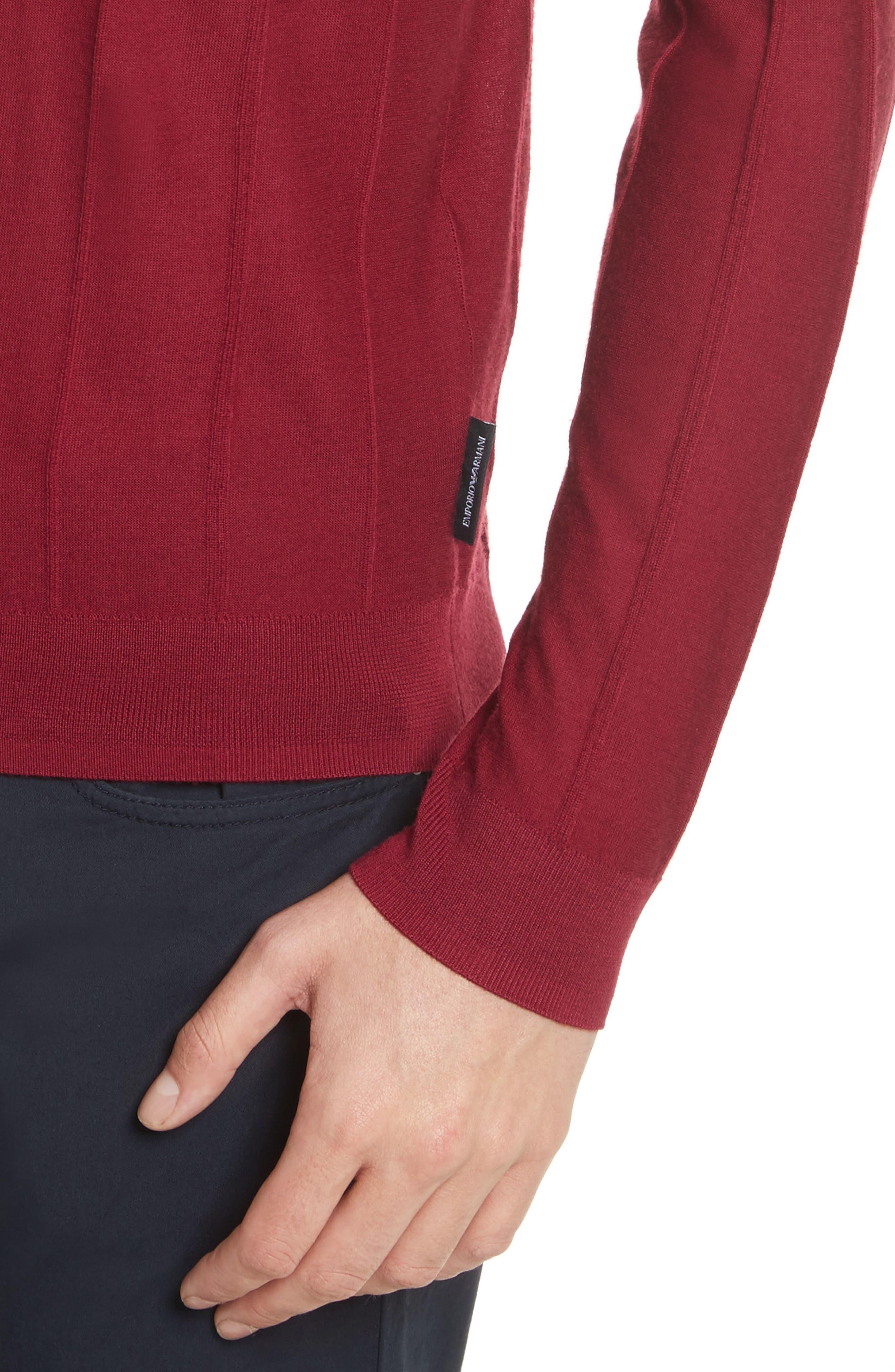 Slim Fit Wool Crewneck Sweater,                             Alternate thumbnail 4, color,                             Borgogna