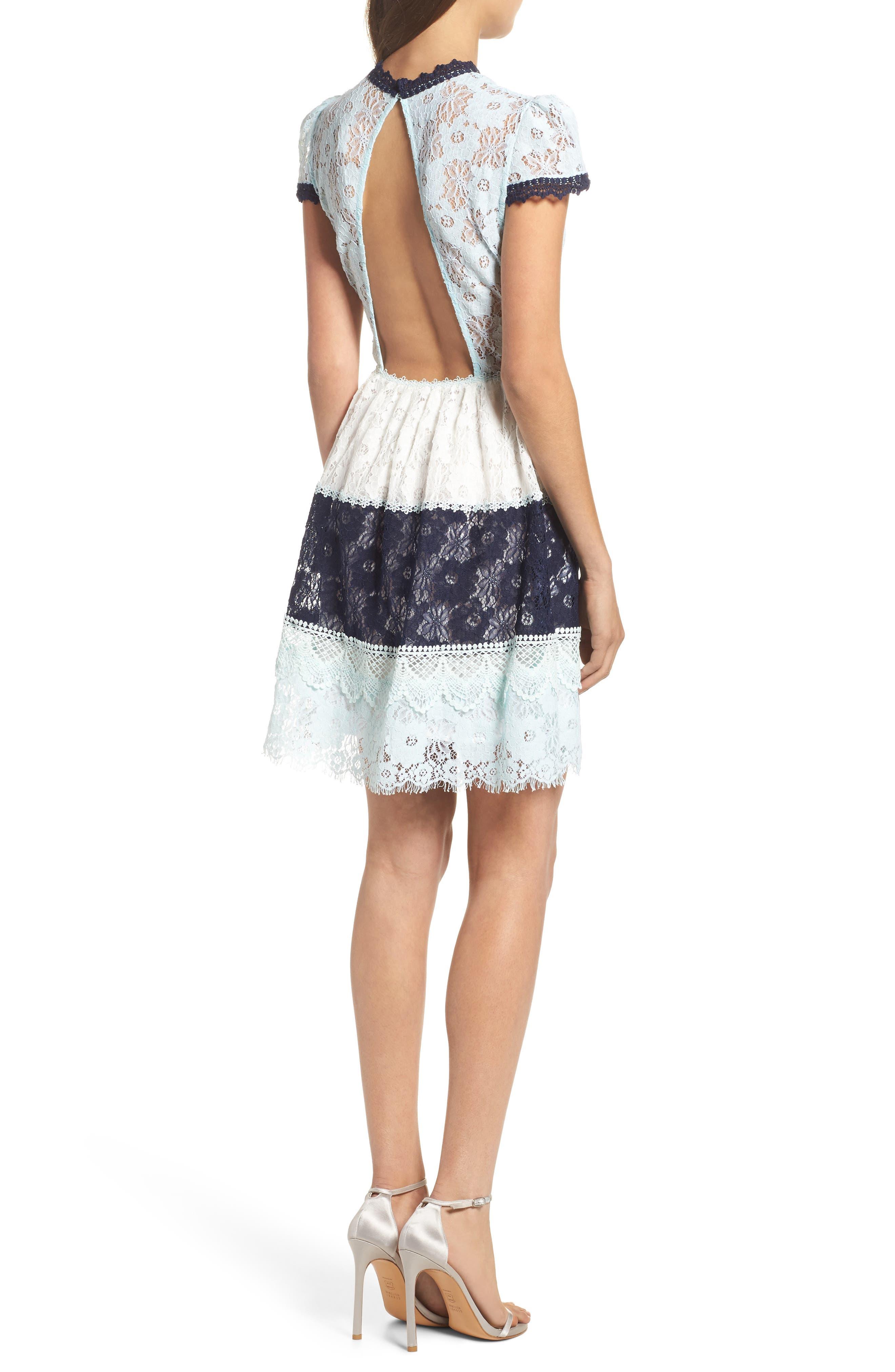 Amelia Lace Fit & Flare Dress,                             Alternate thumbnail 2, color,                             Sky Block
