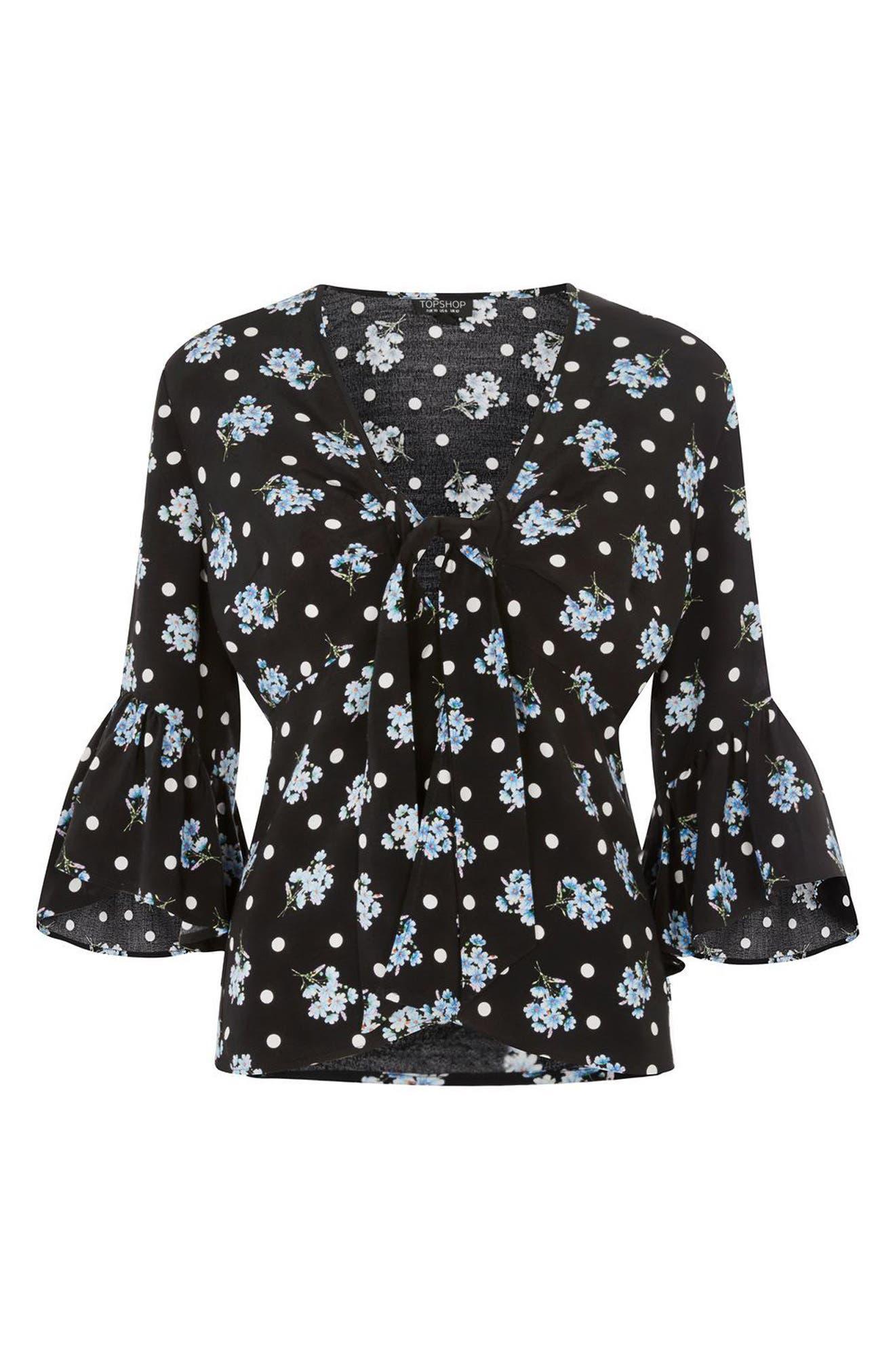 Felicity Spot Floral Tie Front Blouse,                             Alternate thumbnail 4, color,                             Black Multi