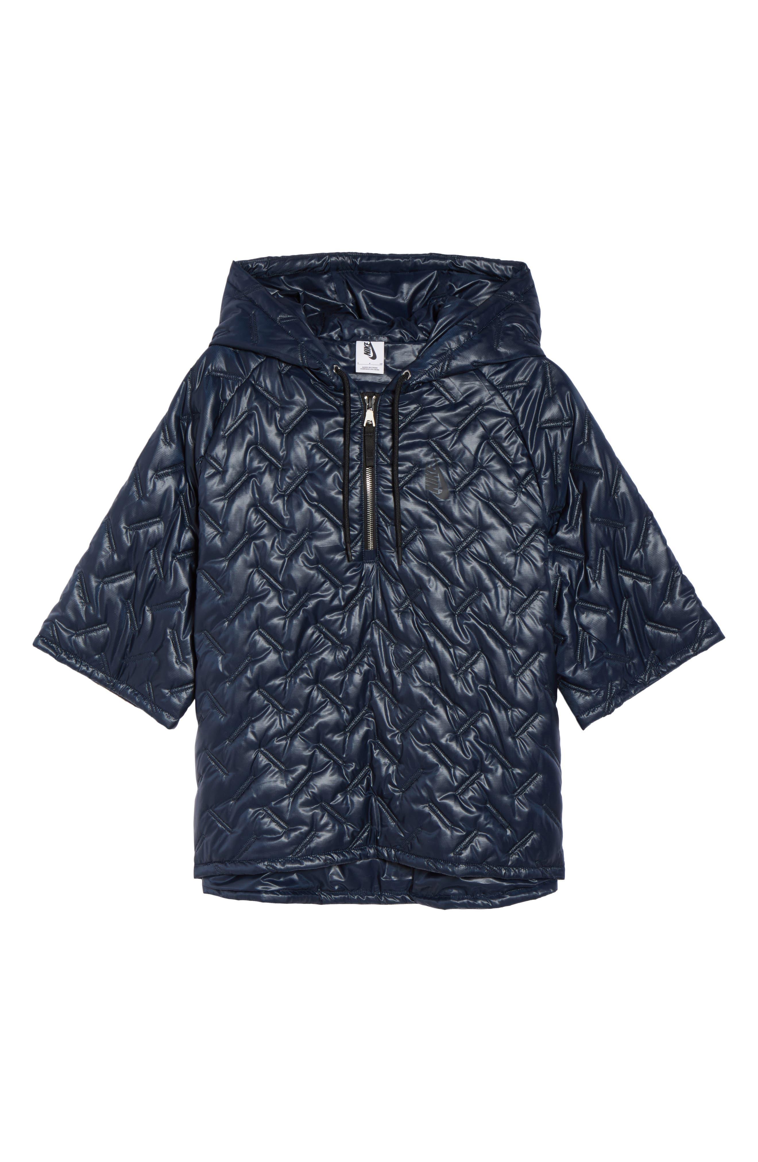 NikeLab Essentials Insulated Short Sleeve Women's Hoodie,                             Alternate thumbnail 12, color,                             Dark Obsidian/ Black