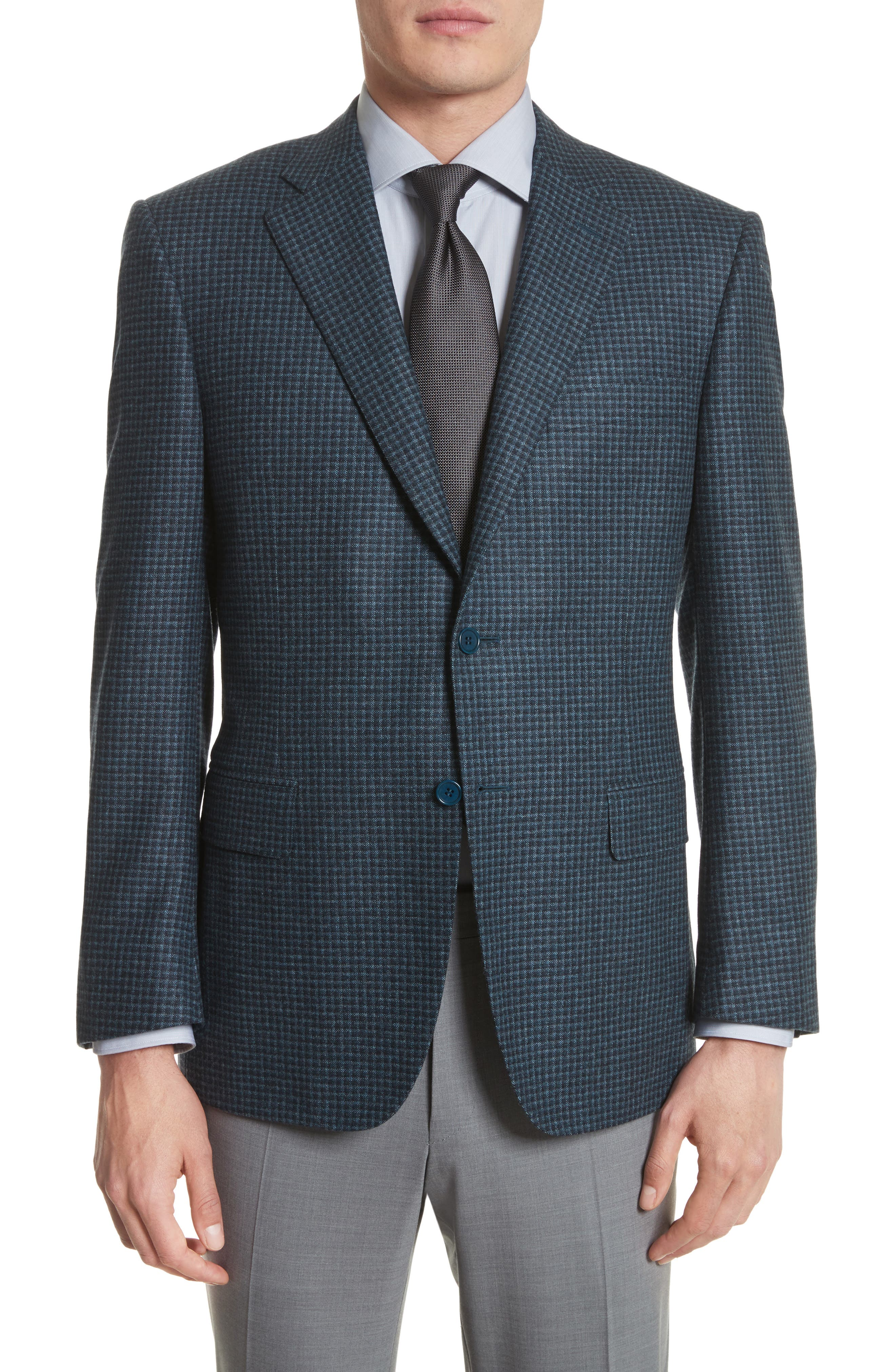 Classic Fit Check Wool & Cashmere Sport Coat,                         Main,                         color, Navy