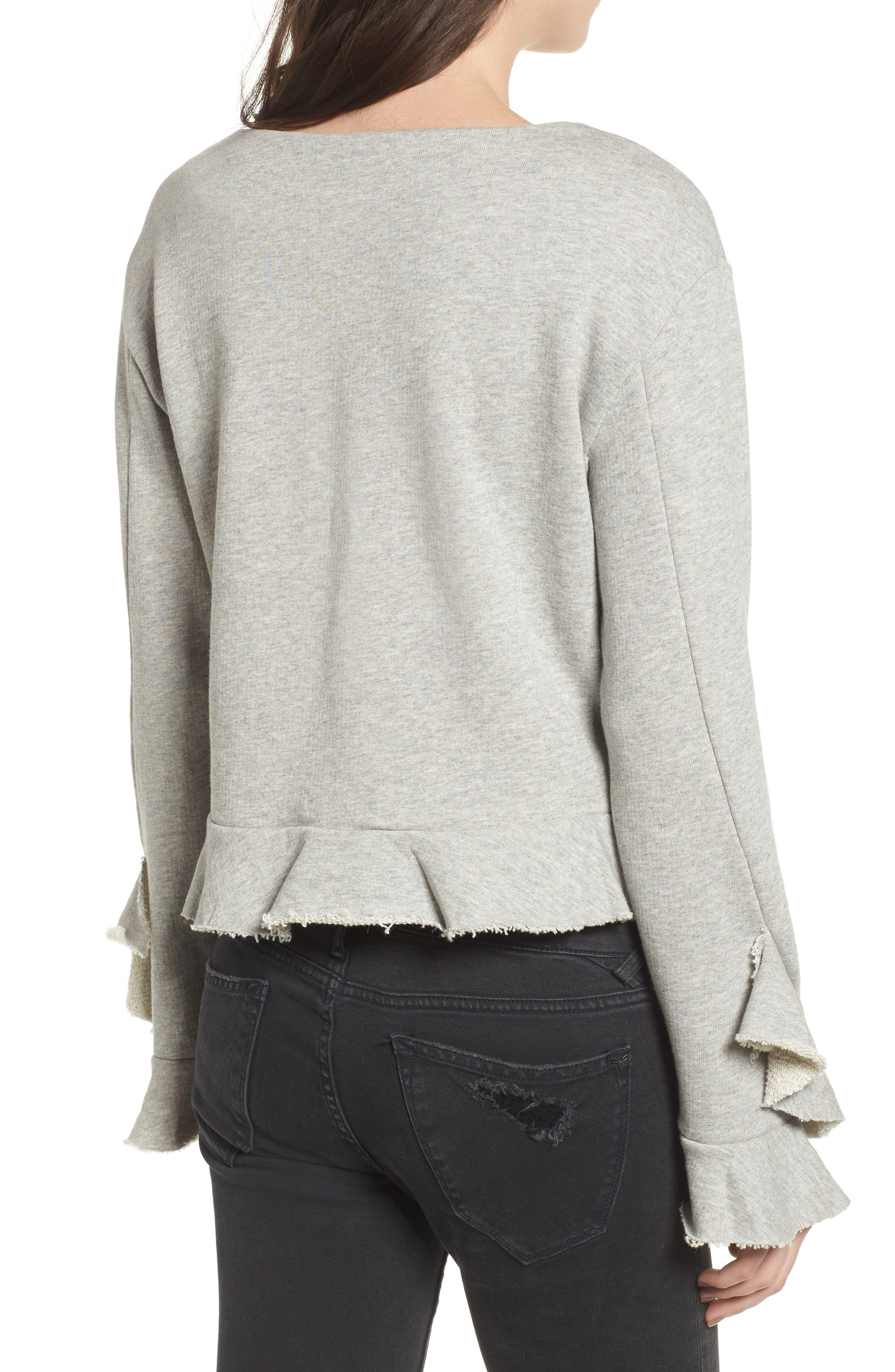 Ruffle Trim Sweatshirt,                             Alternate thumbnail 2, color,                             Heather Grey