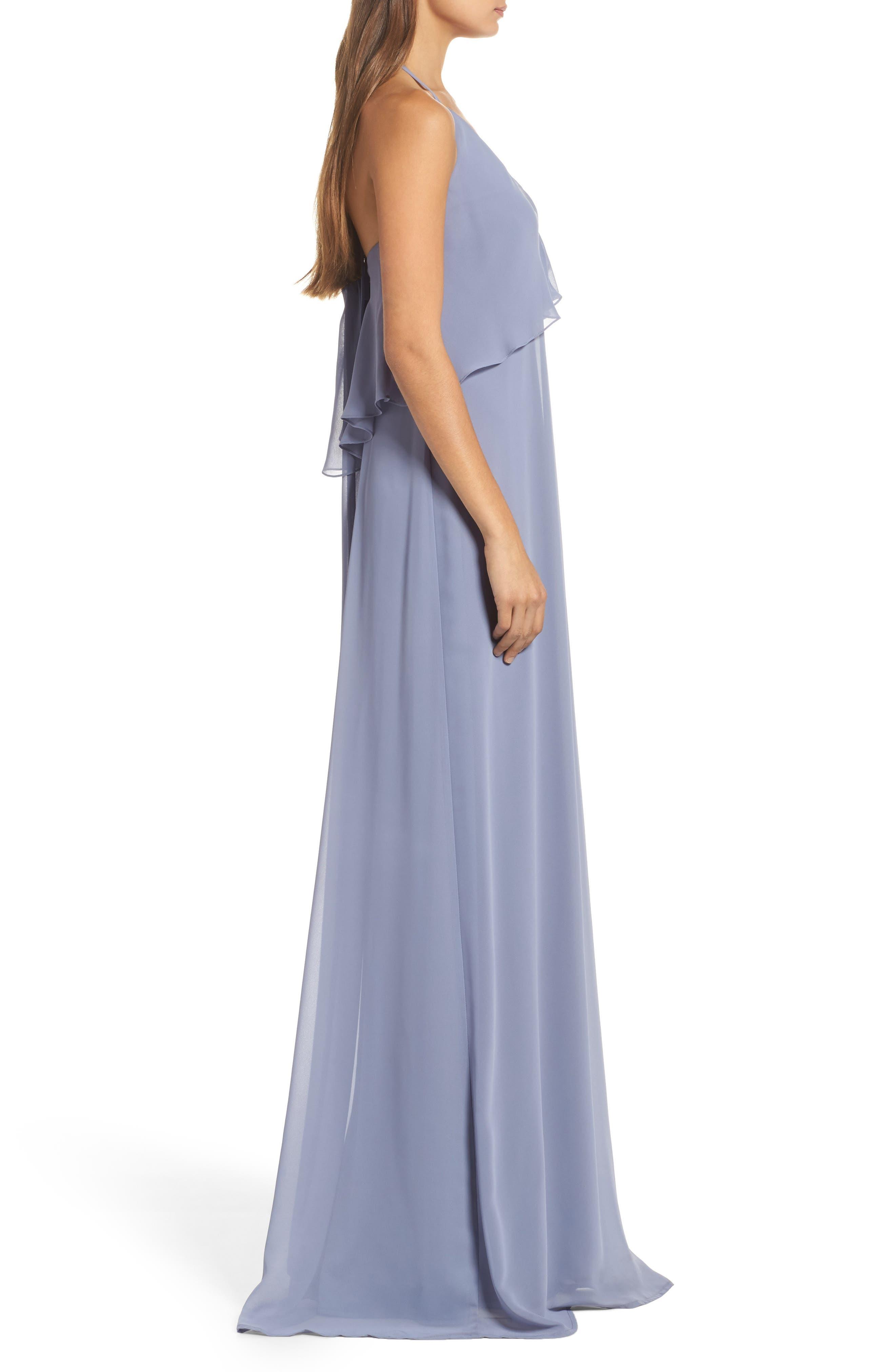 Alternate Image 3  - nouvelle AMSALE Ruffle Halter Neck Chiffon Gown