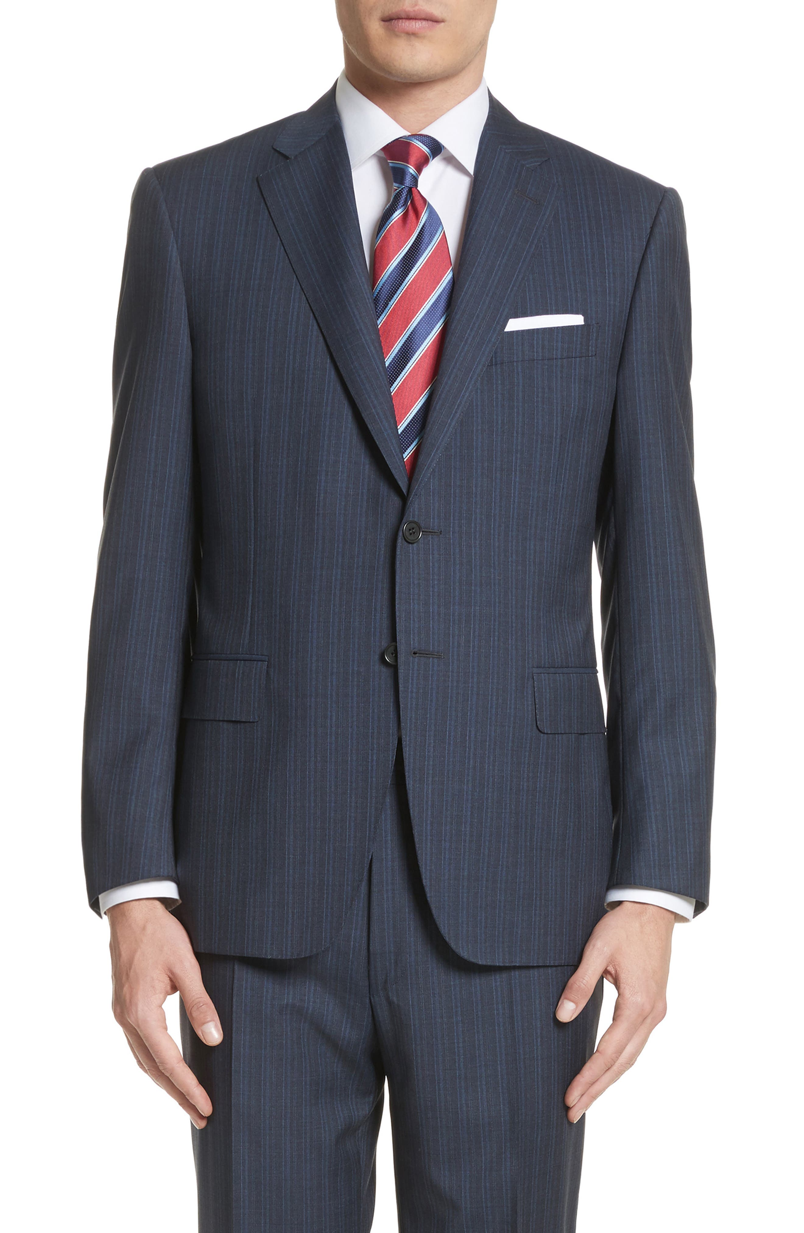 Classic Fit Stripe Wool Suit,                             Alternate thumbnail 5, color,                             Navy