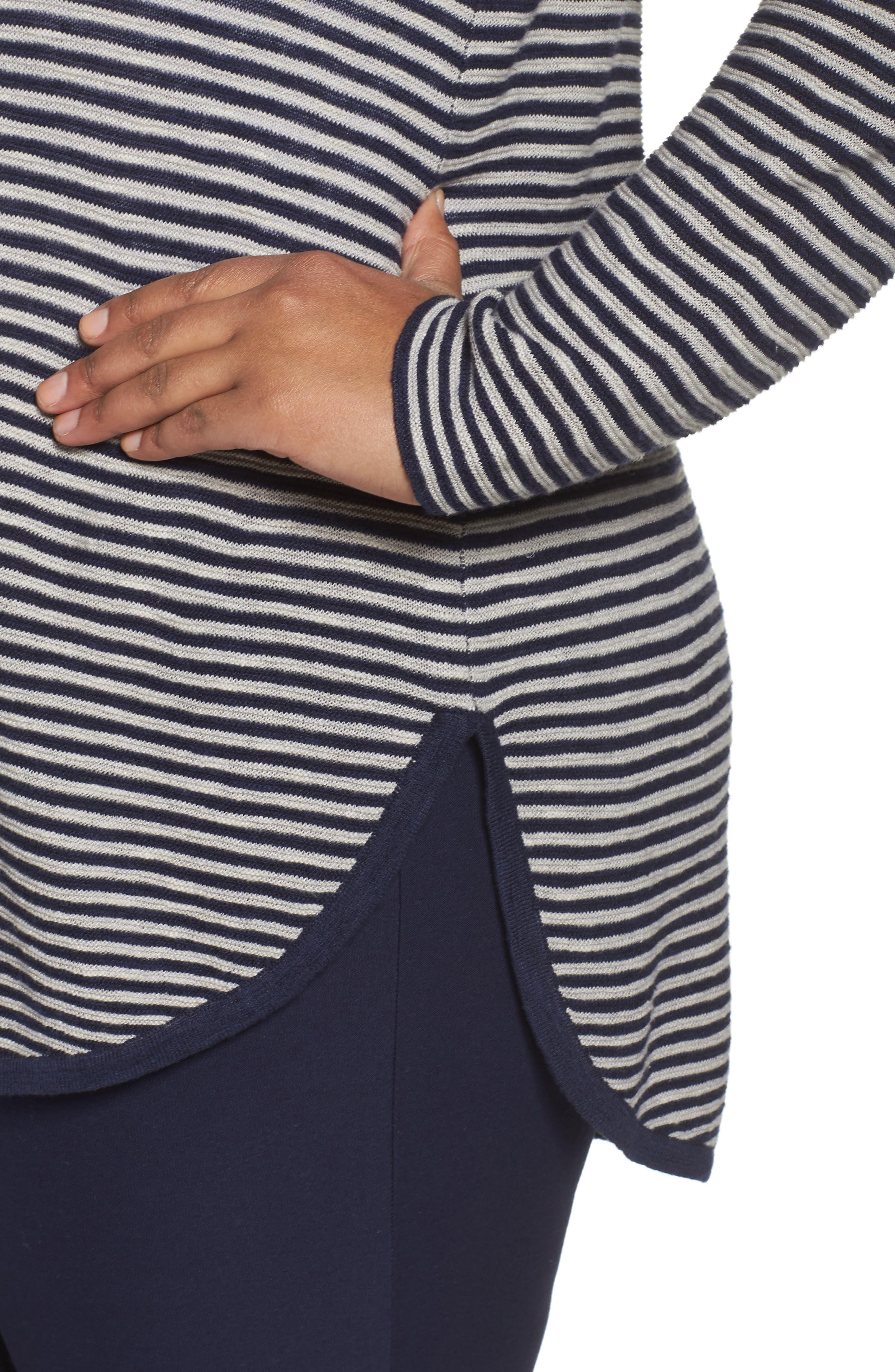Alternate Image 4  - Eileen Fisher Stripe Organic Linen & Cotton Sweater (Plus Size)