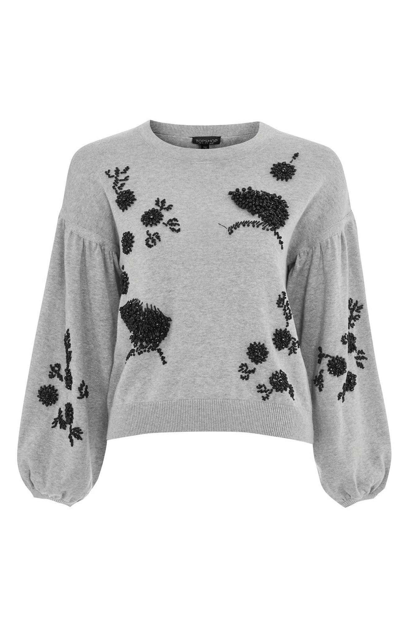 Beaded Balloon Sleeve Sweater,                             Alternate thumbnail 5, color,                             Grey Marl Multi