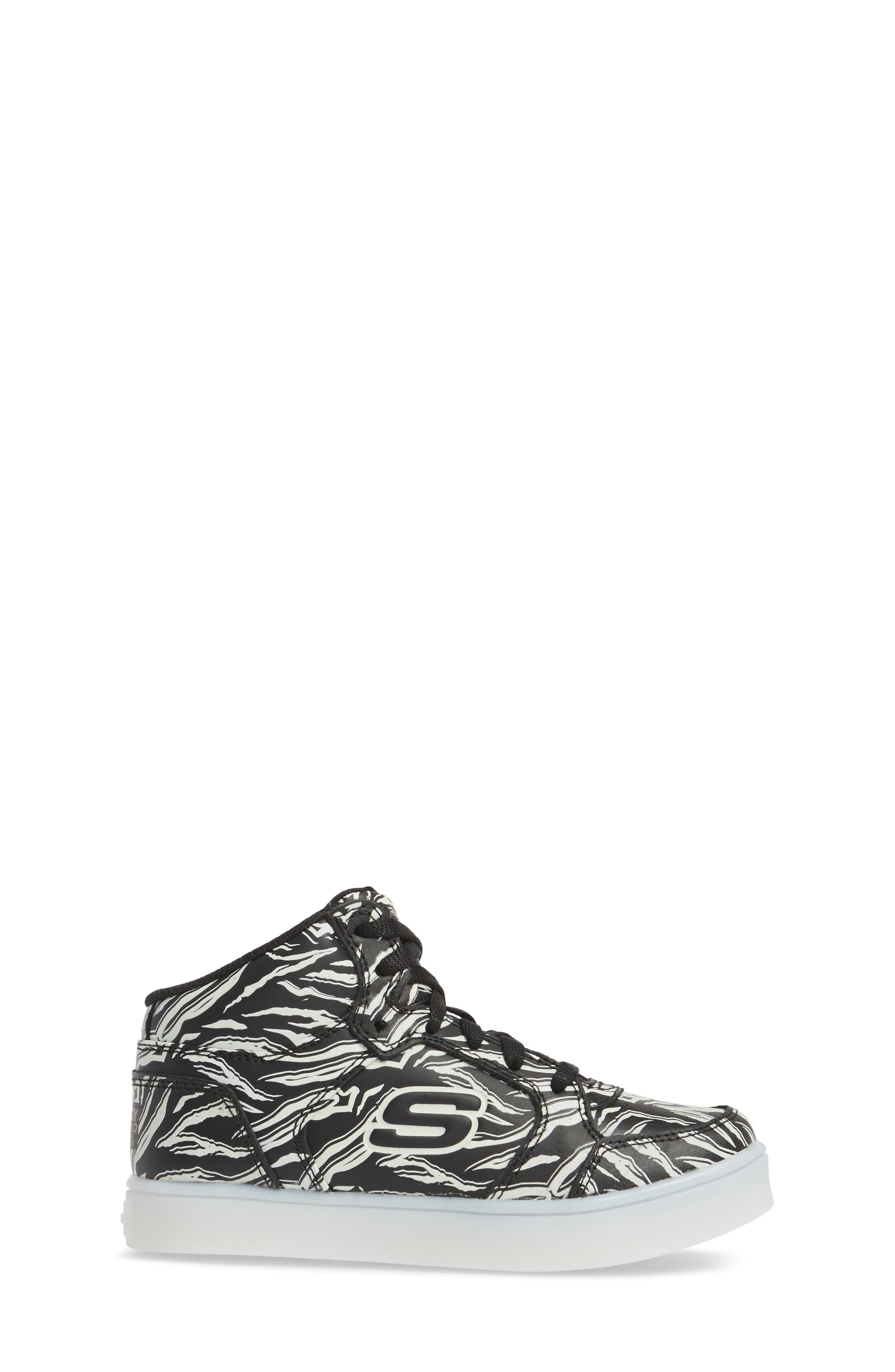 Energy Lights Glow in the Dark Sneaker,                             Alternate thumbnail 6, color,                             Black