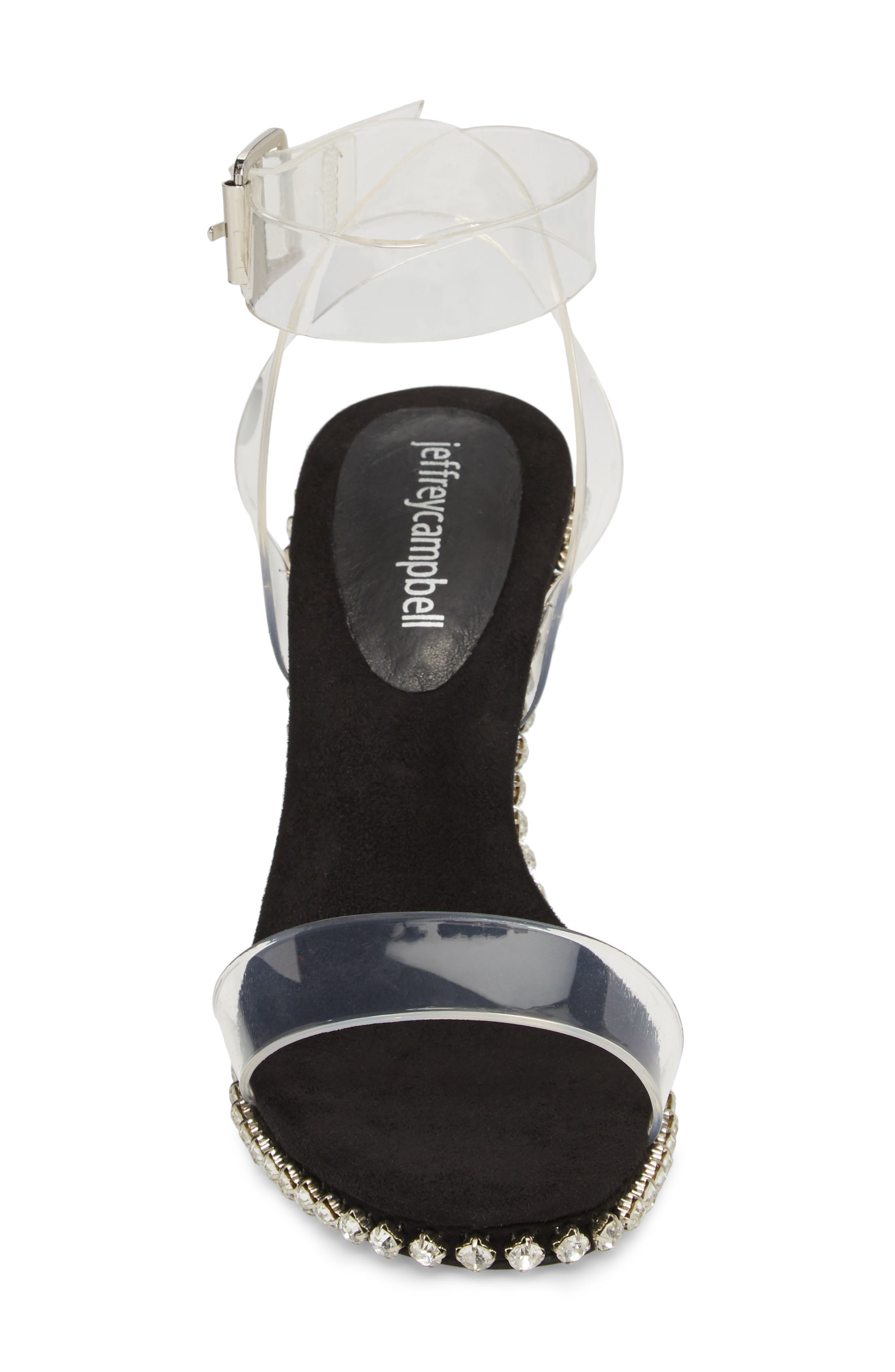 Charmed Sandal,                             Alternate thumbnail 4, color,                             Black Suede-Clear