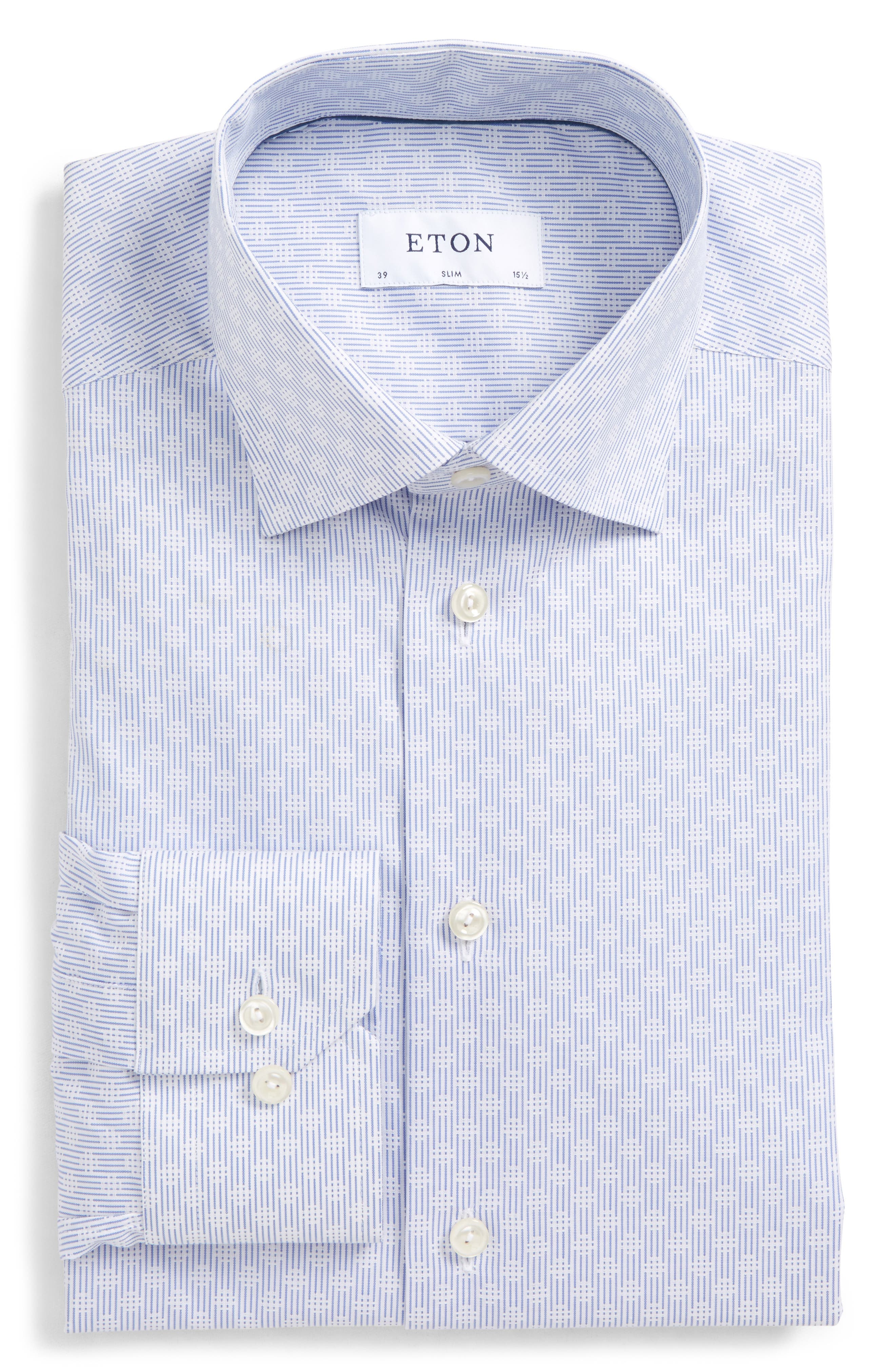 Eton Slim Fit Stripe Dress Shirt