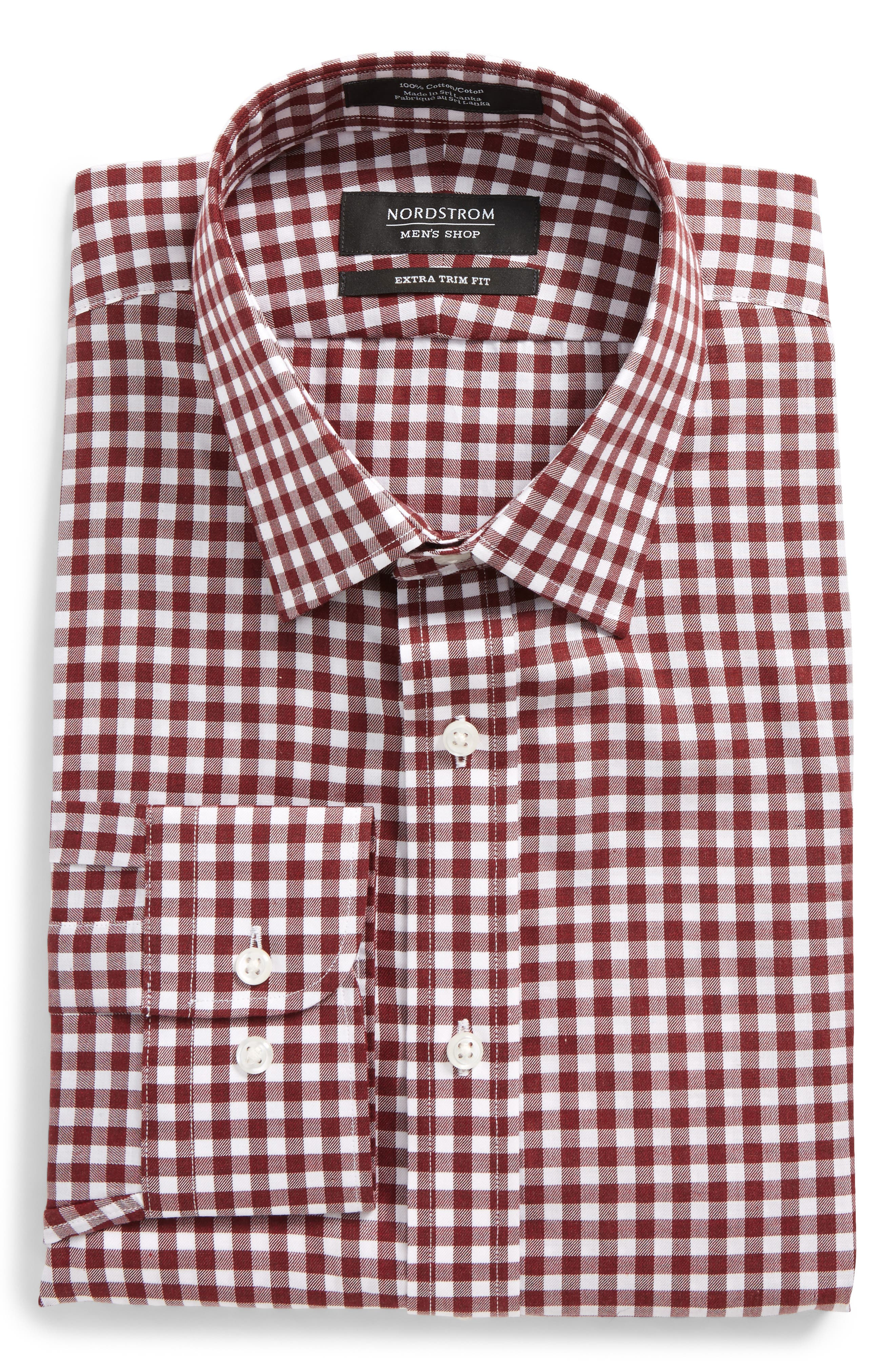 Extra Trim Fit Check Dress Shirt,                         Main,                         color, Red Chili