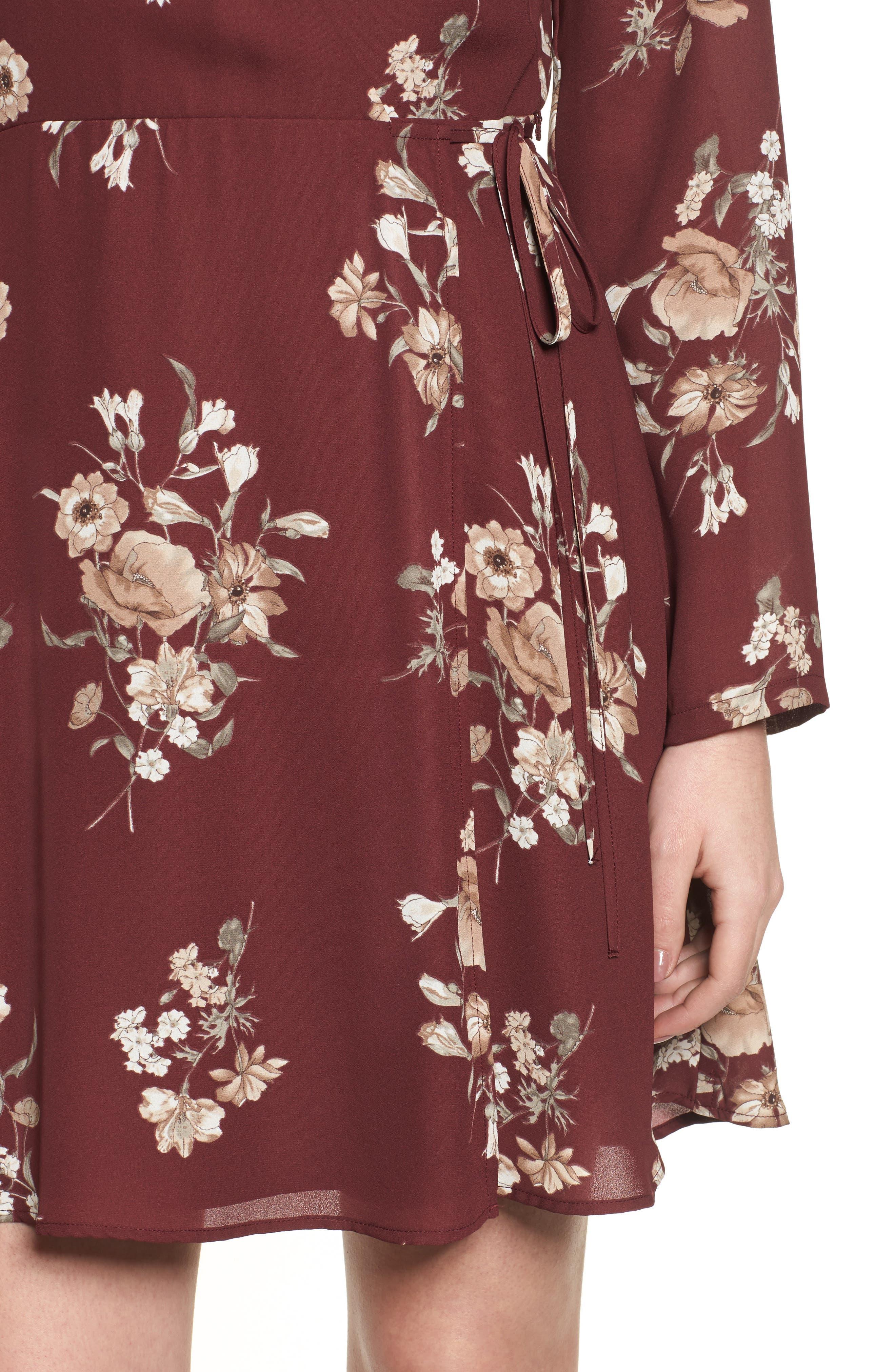 Elly Wrap Dress,                             Alternate thumbnail 4, color,                             Burgundy Floral