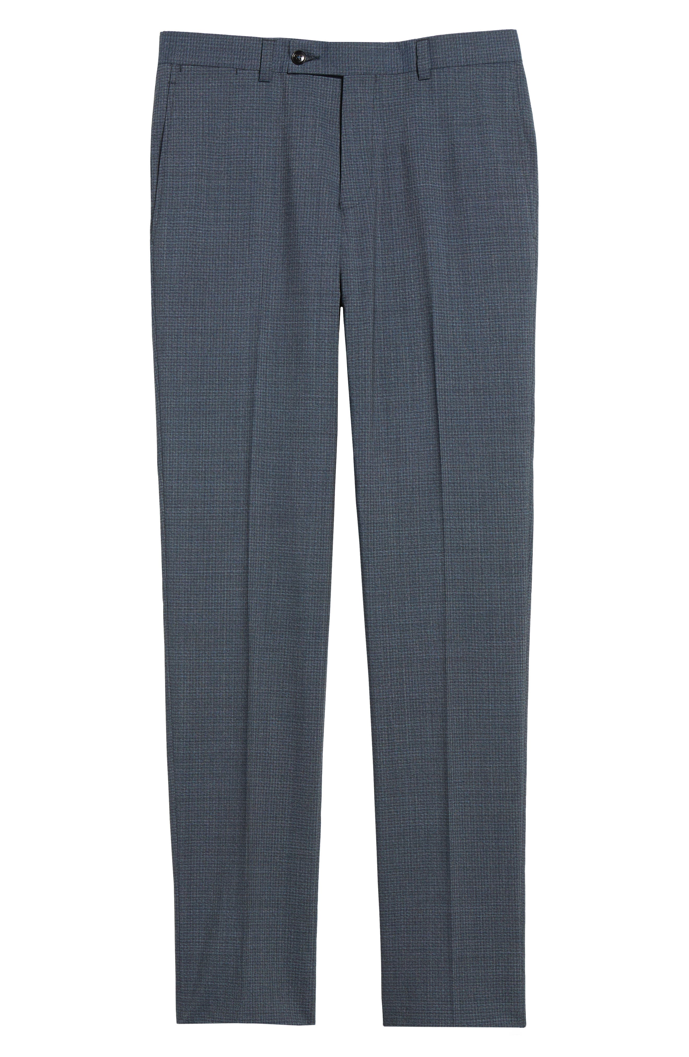 Flat Front Check Wool Trousers,                             Alternate thumbnail 6, color,                             Blue