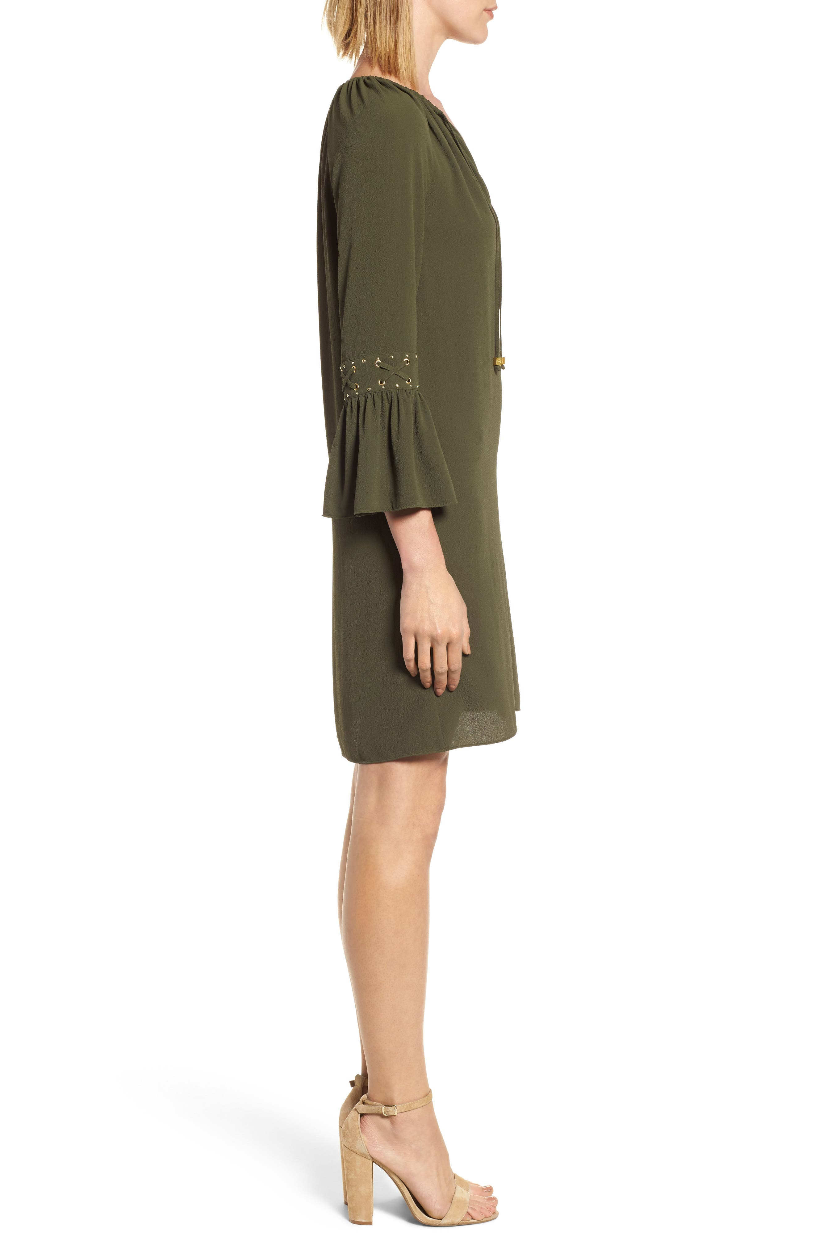 Lace-Up Sleeve Dress,                             Alternate thumbnail 3, color,                             Ivy