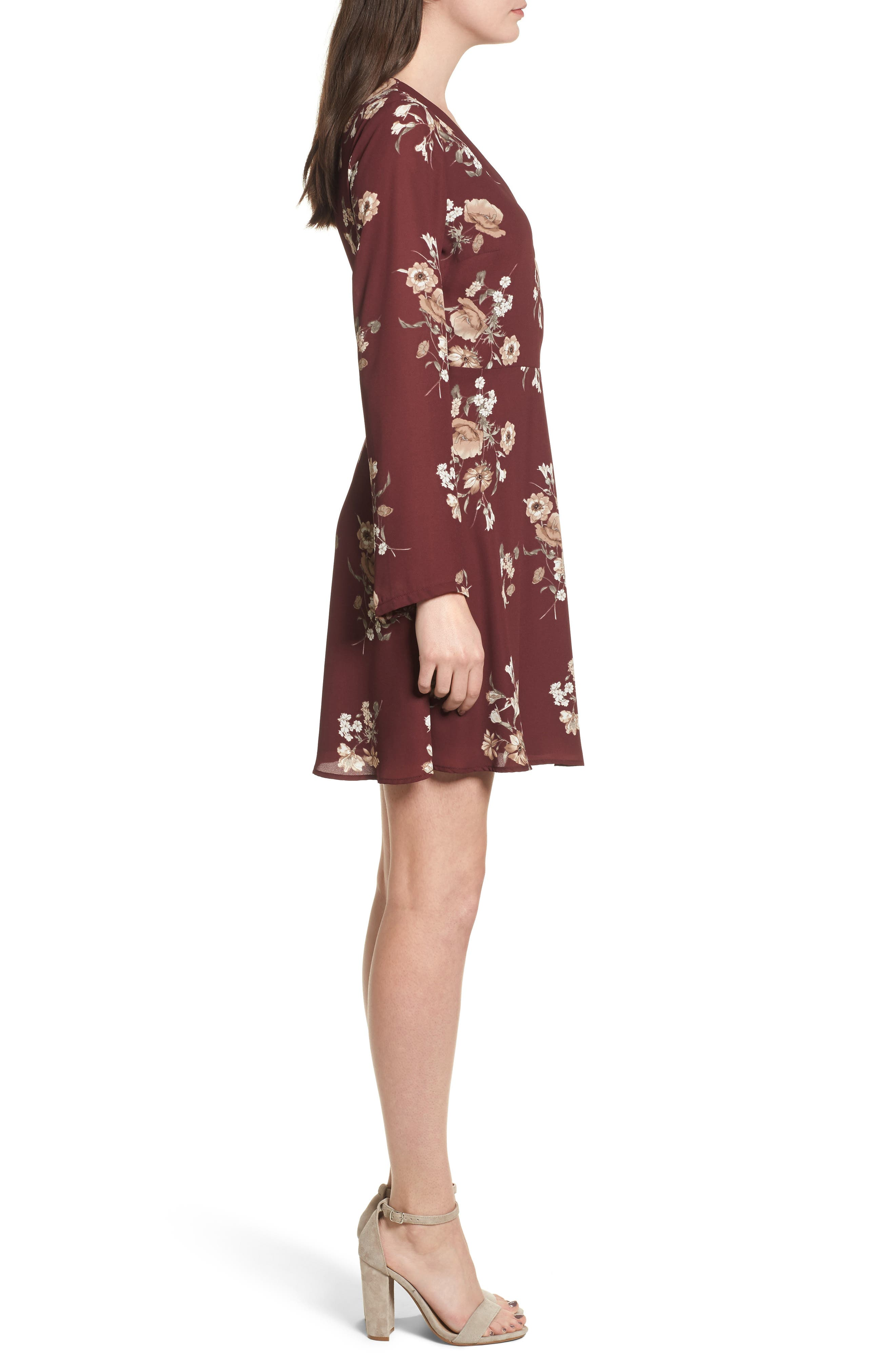 Elly Wrap Dress,                             Alternate thumbnail 3, color,                             Burgundy Floral