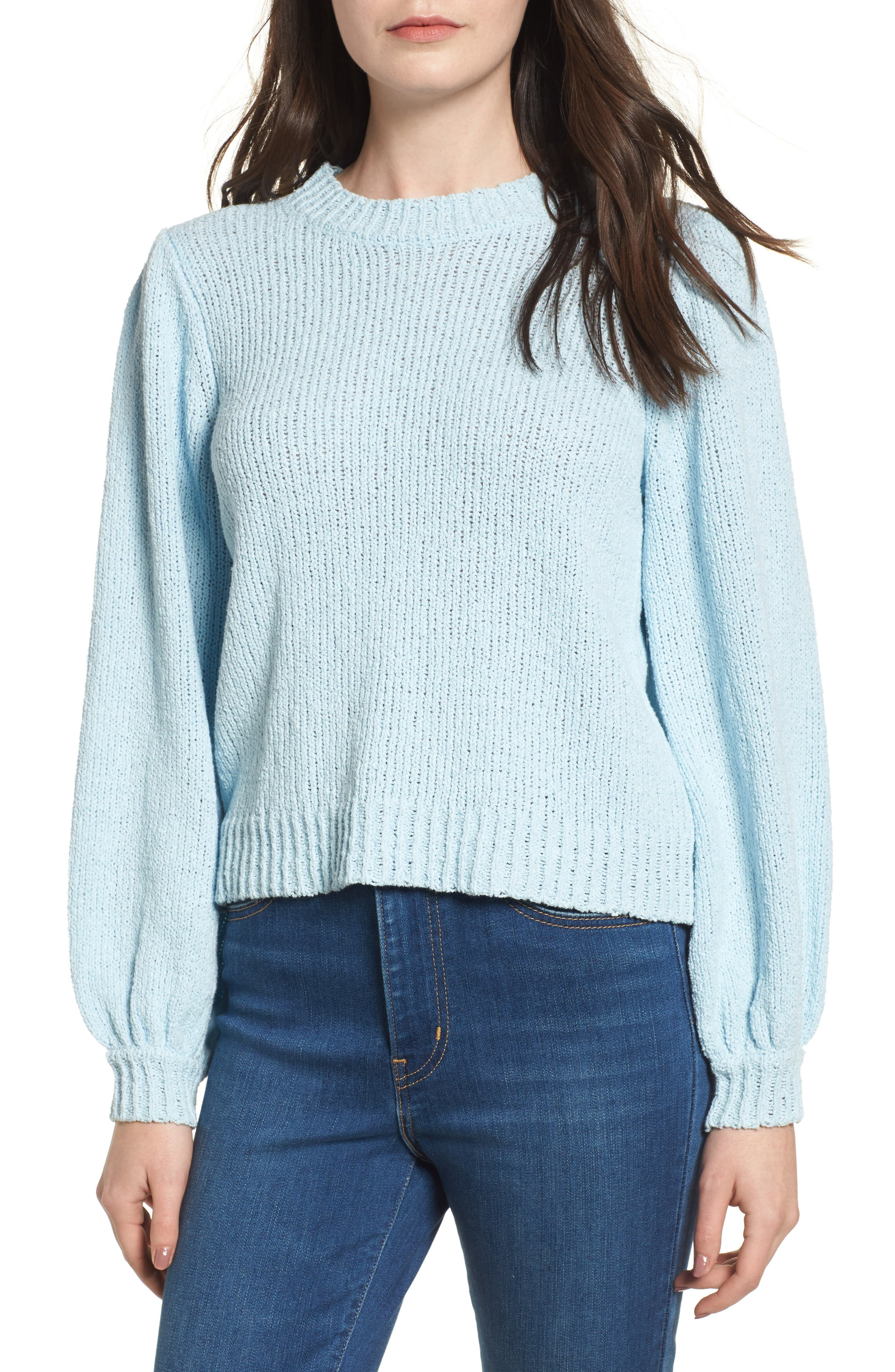 Blouson Sleeve Sweater,                         Main,                         color, Blue Omphalodes