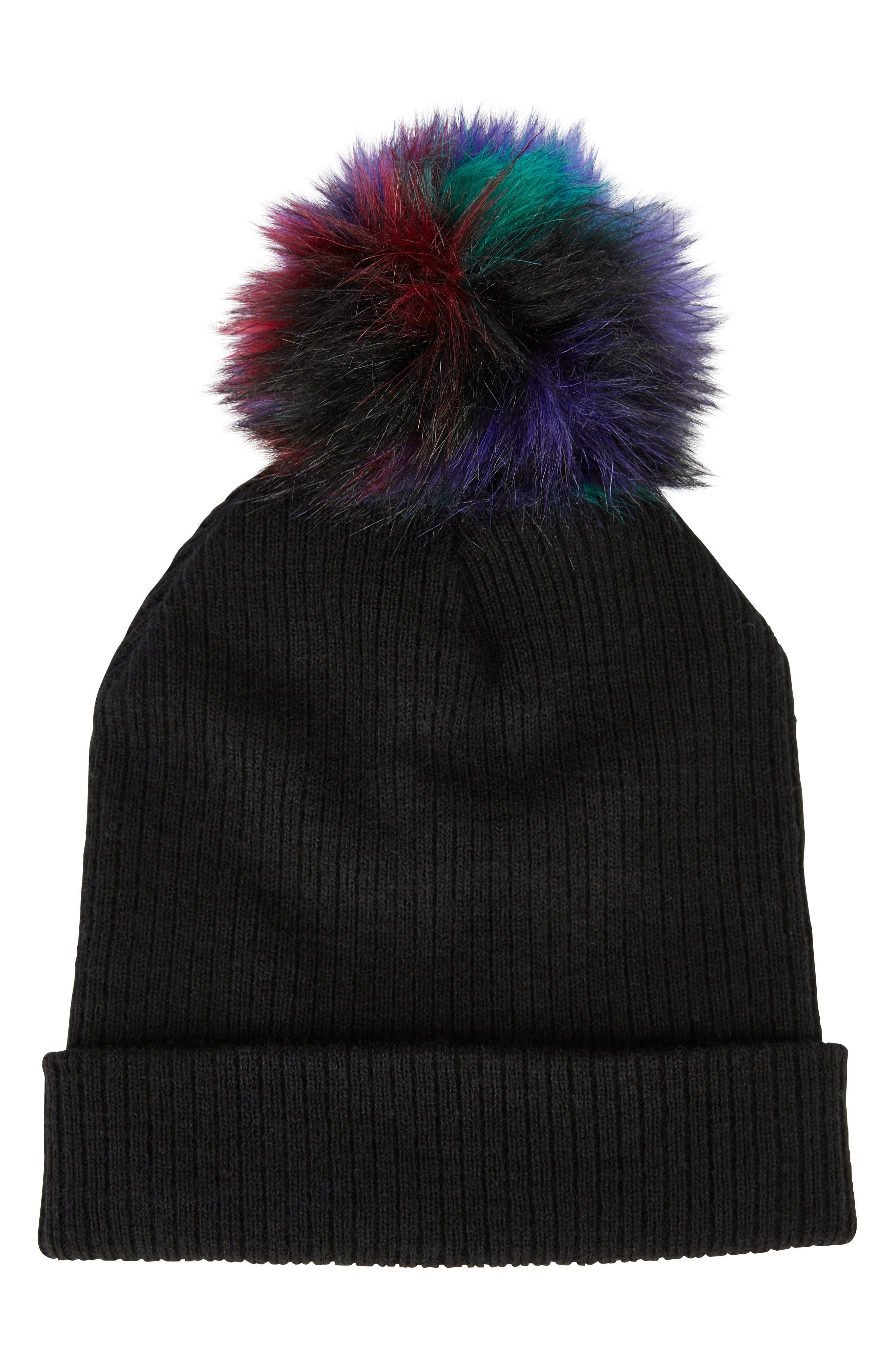 Faux Fur Pompom Beanie,                         Main,                         color, Black Multi