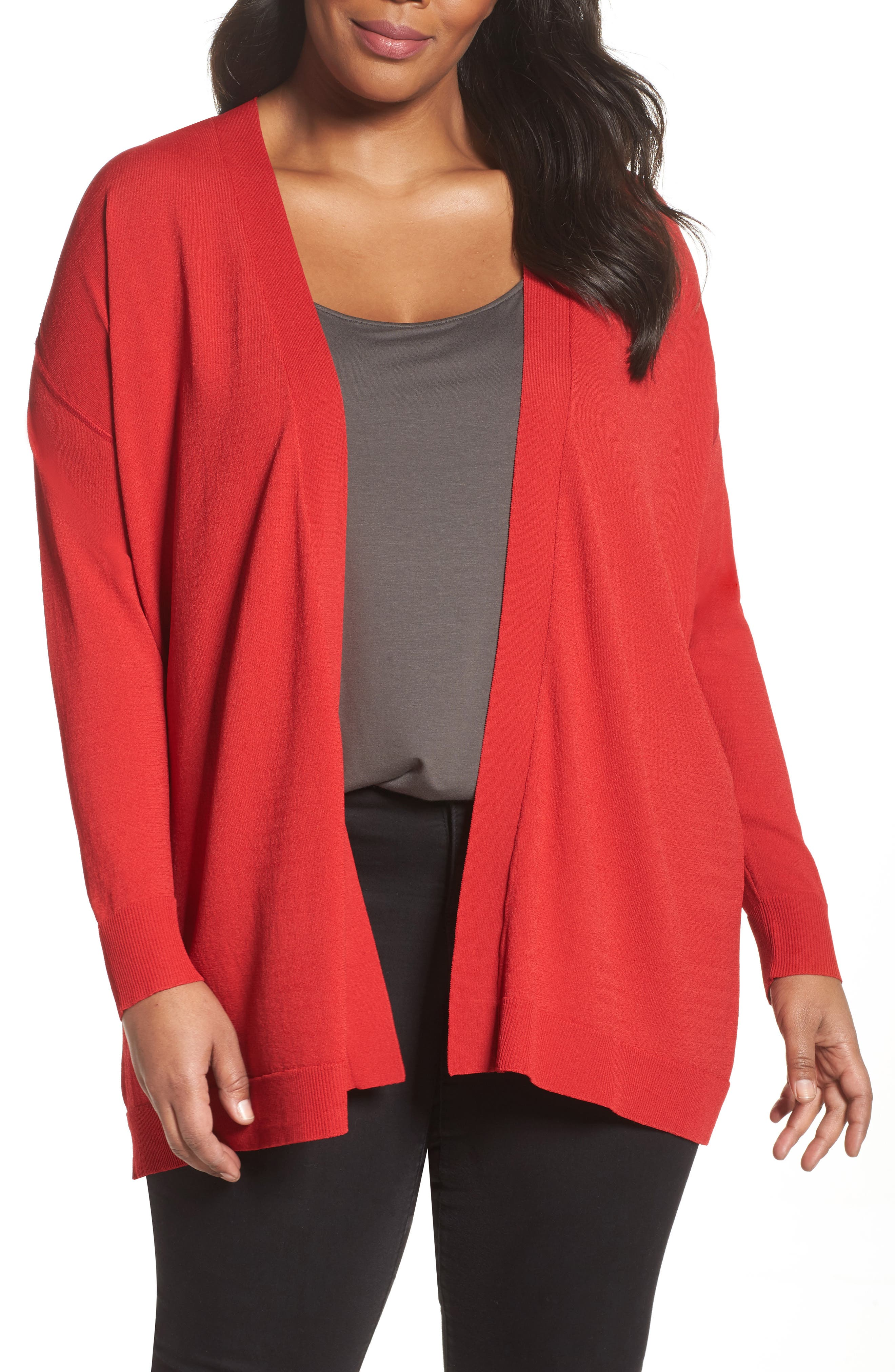Sejour Mixed Media Open Cardigan (Plus Size)