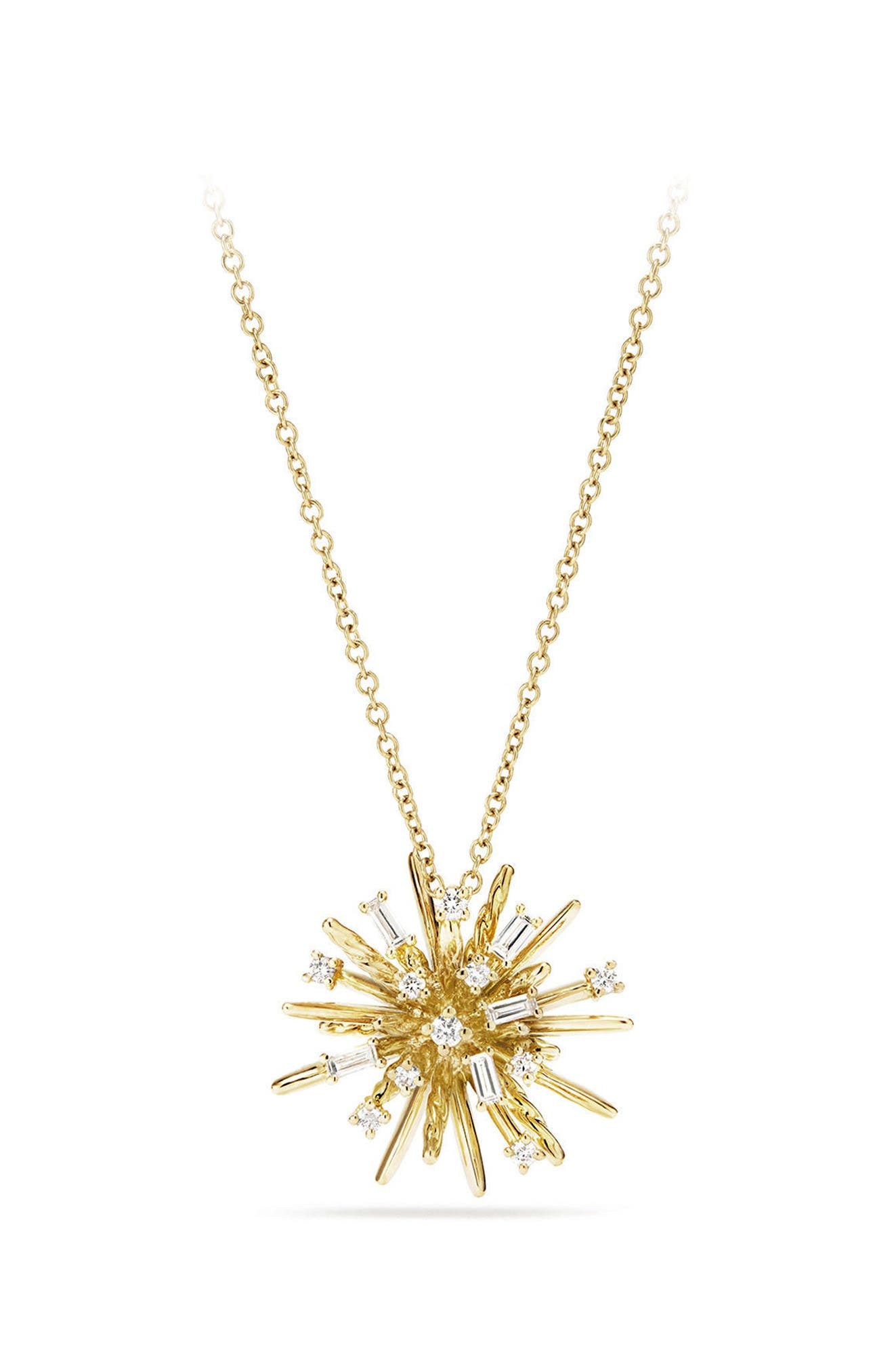 Supernova Small Pendant Necklace with Diamonds in 18K White Gold,                         Main,                         color, Yellow Gold