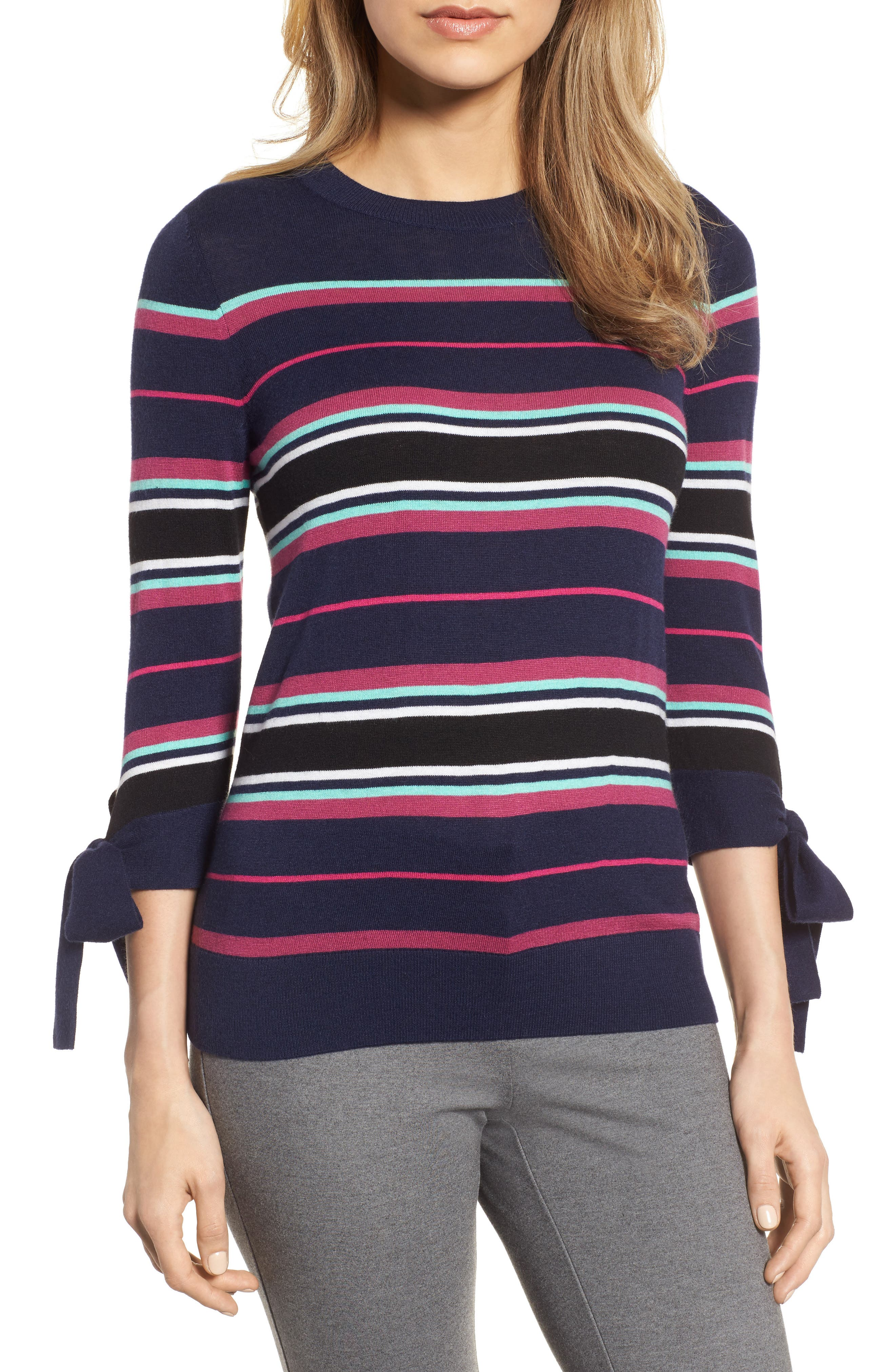 Tie Sleeve Crewneck Sweater,                         Main,                         color, Navy/ Pink Multi Stripe
