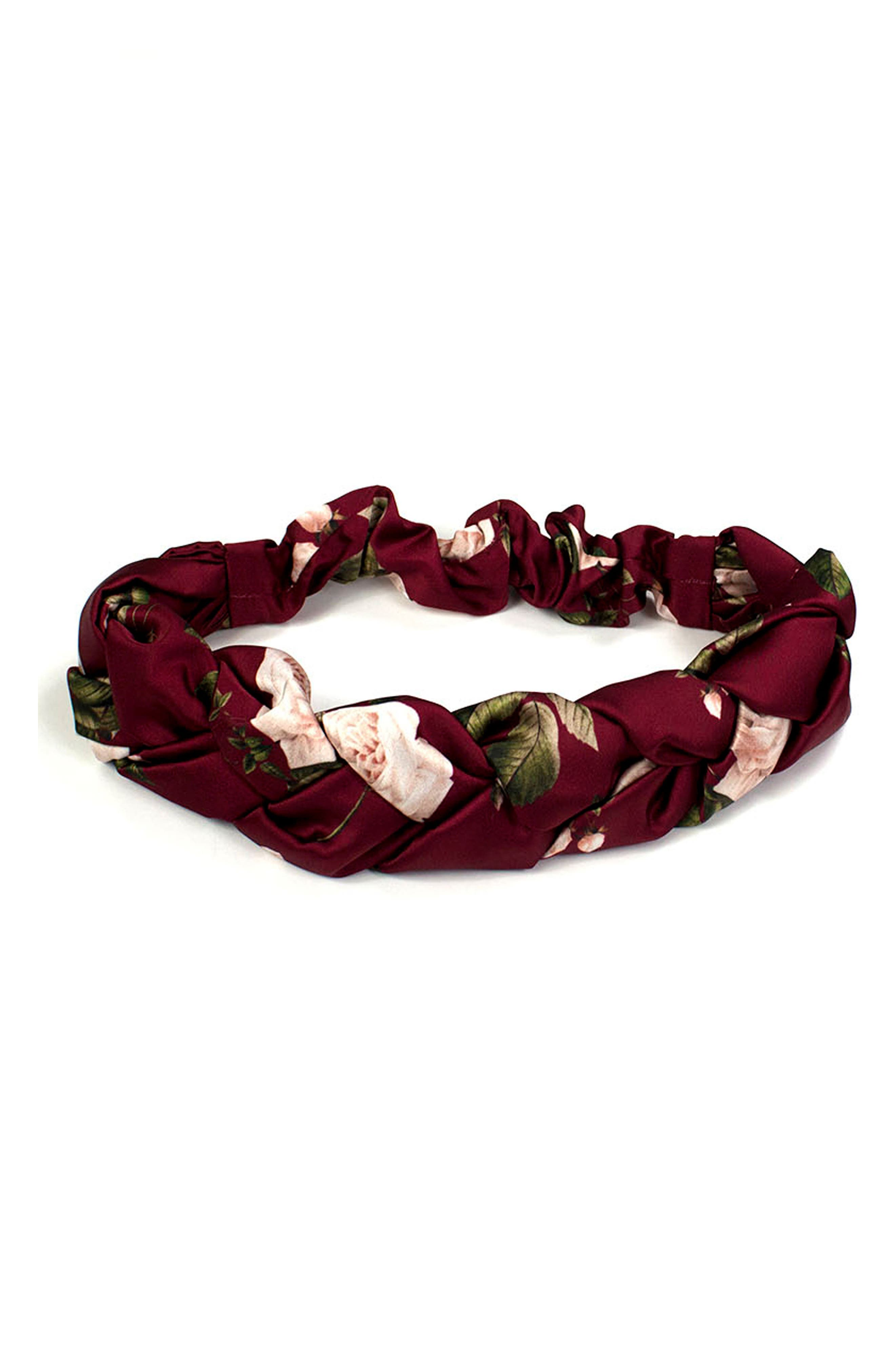 Winter Rose Braided Head Wrap,                             Alternate thumbnail 3, color,                             Winter Rose