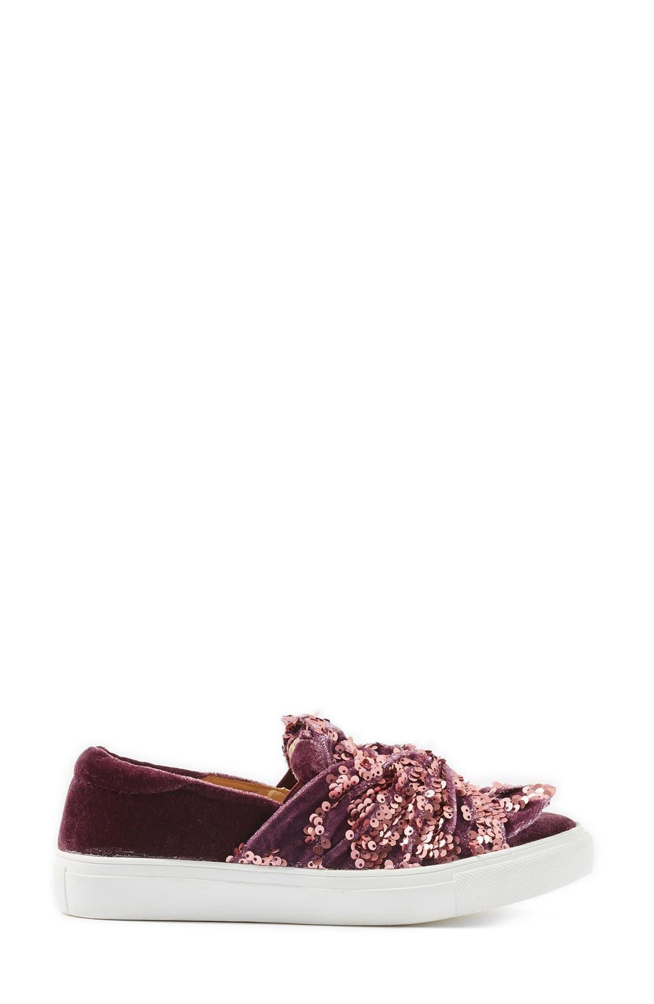 Twisted Sequin Velvet Sneakers,                             Alternate thumbnail 2, color,                             Pink